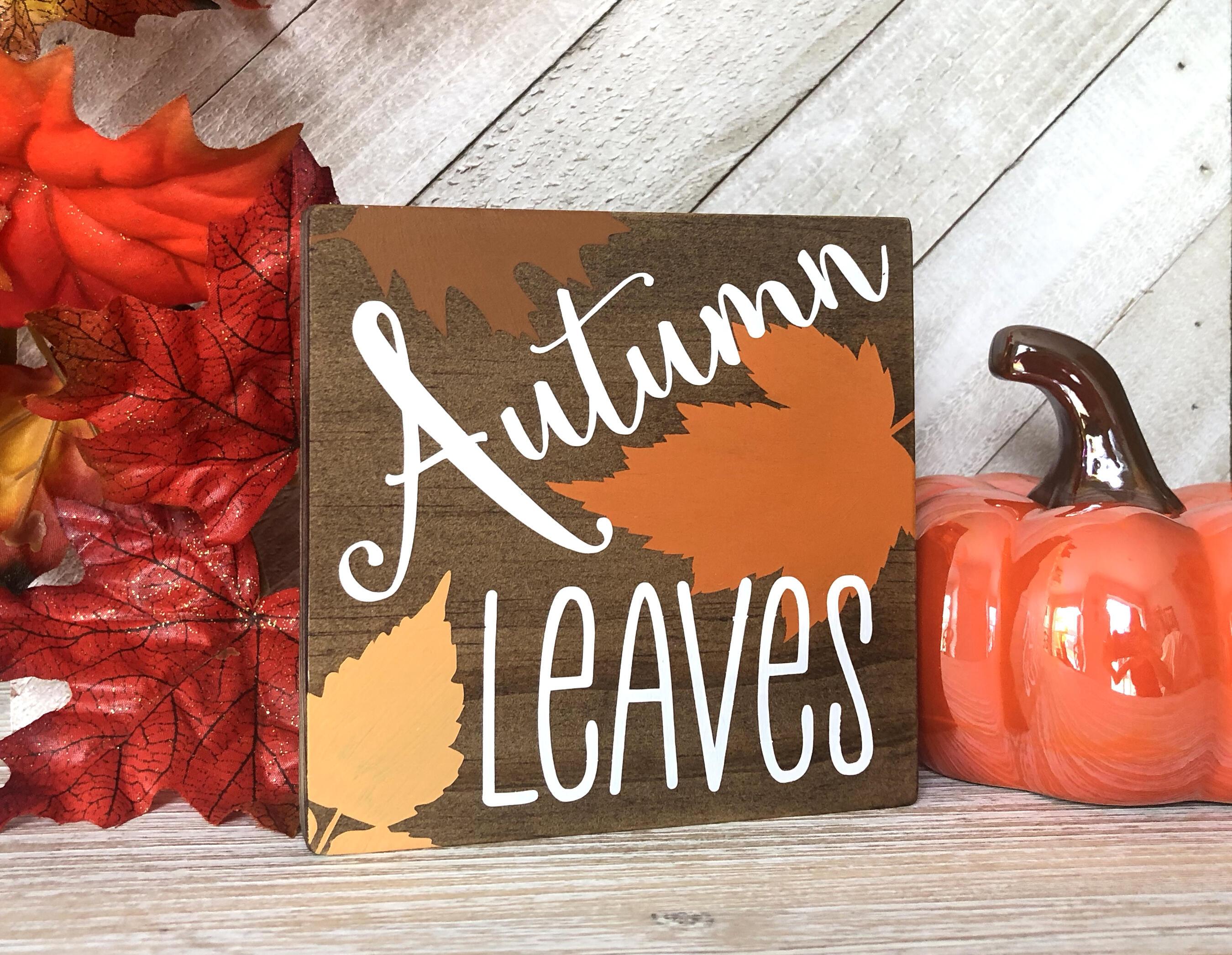 Fall Leaves Sign Trio, Hello Fall, Autumn Leaves, Pumpkins Please