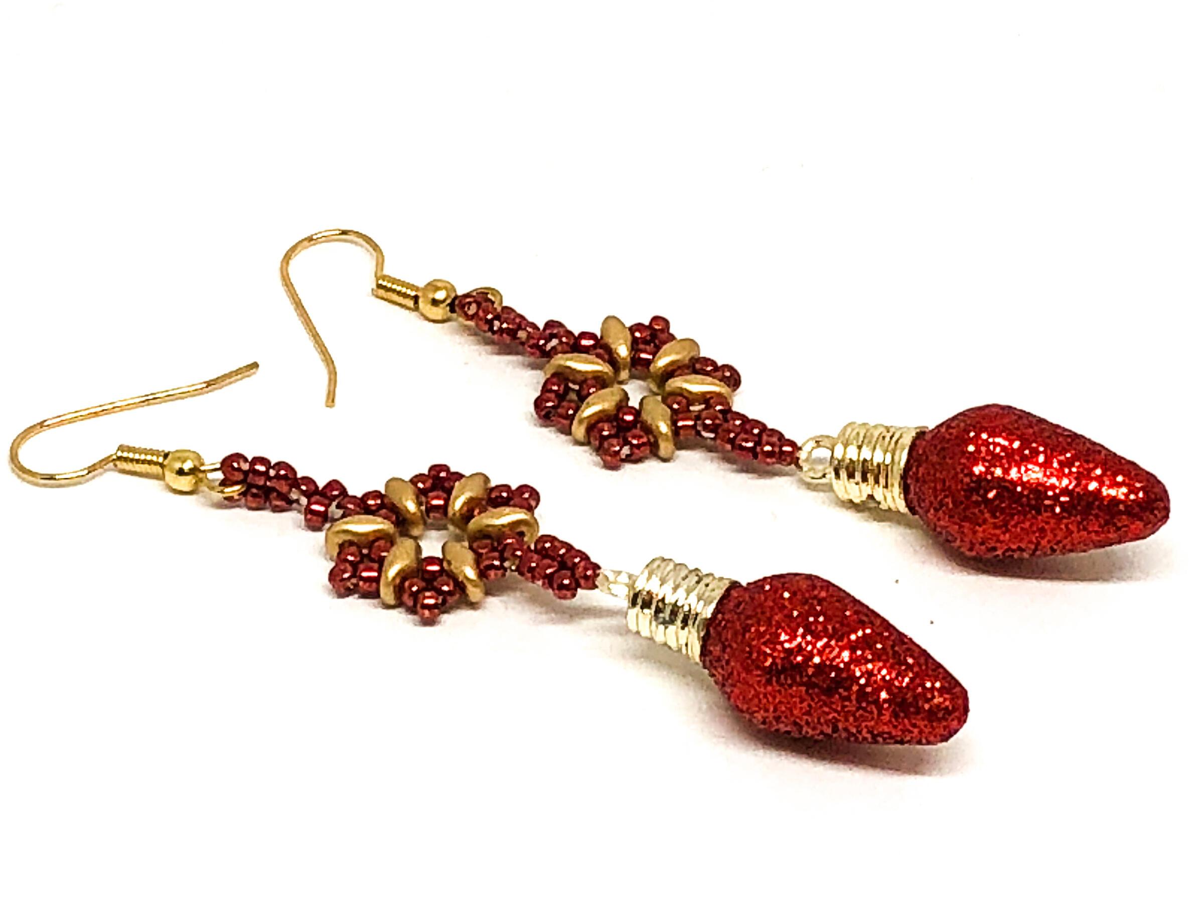 Handmade Red Christmas Bulb Snowflake Earrings