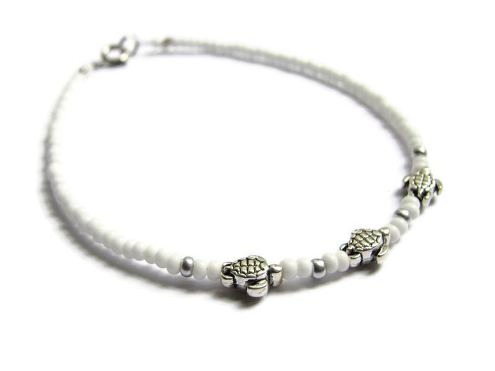 Beaded Sea Turtle ankle bracelet in white