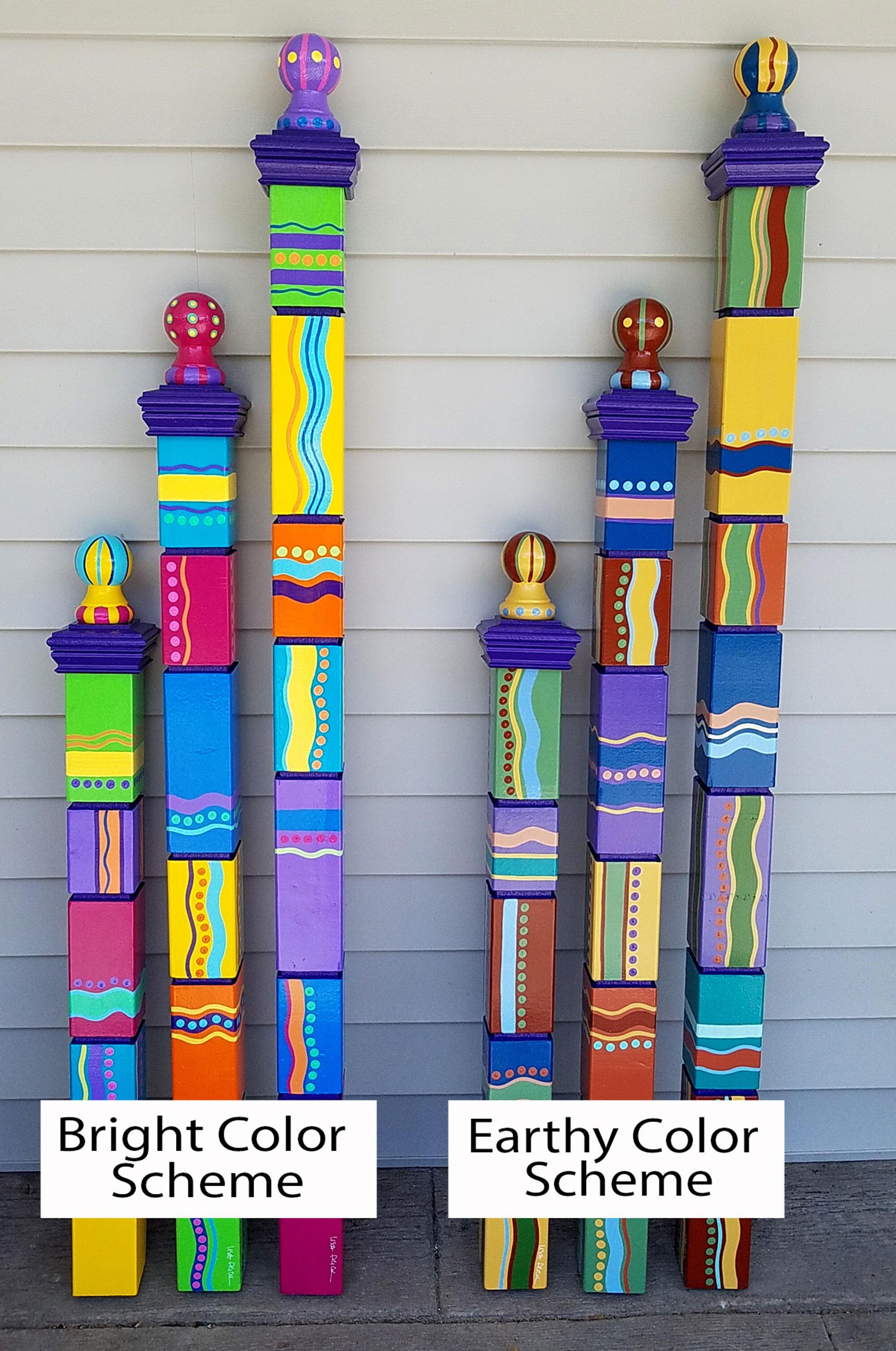 Home Living Home Decor Garden Totems Preorder Totem Pole Garden Pole Hand Painted Garden Art Garden Sculpture Sculptural Totems Yard Art Colorful Totems Lawn Art Pyramid Top