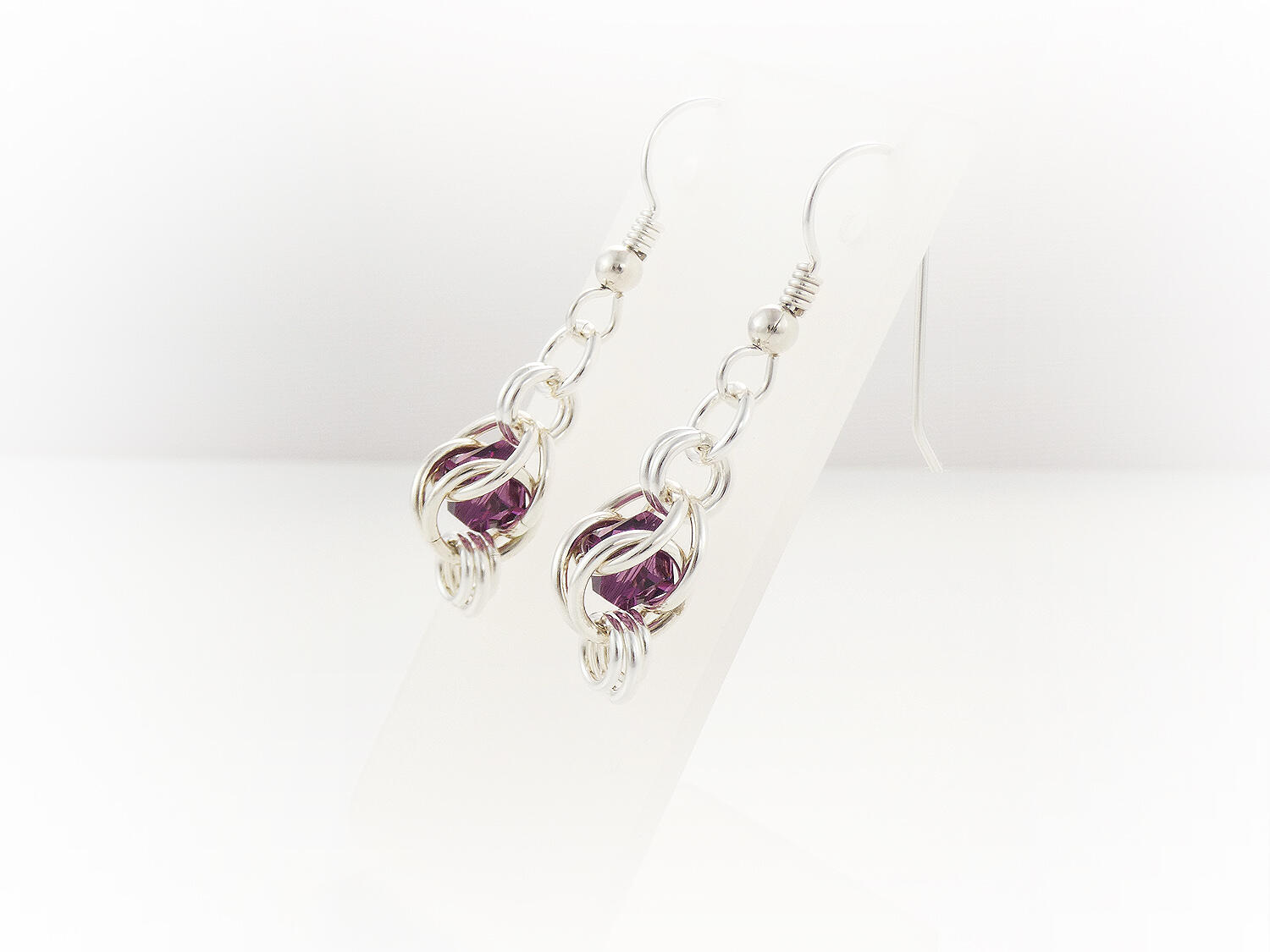 Silver Chainmaille Captured Bead Earrings Amethyst