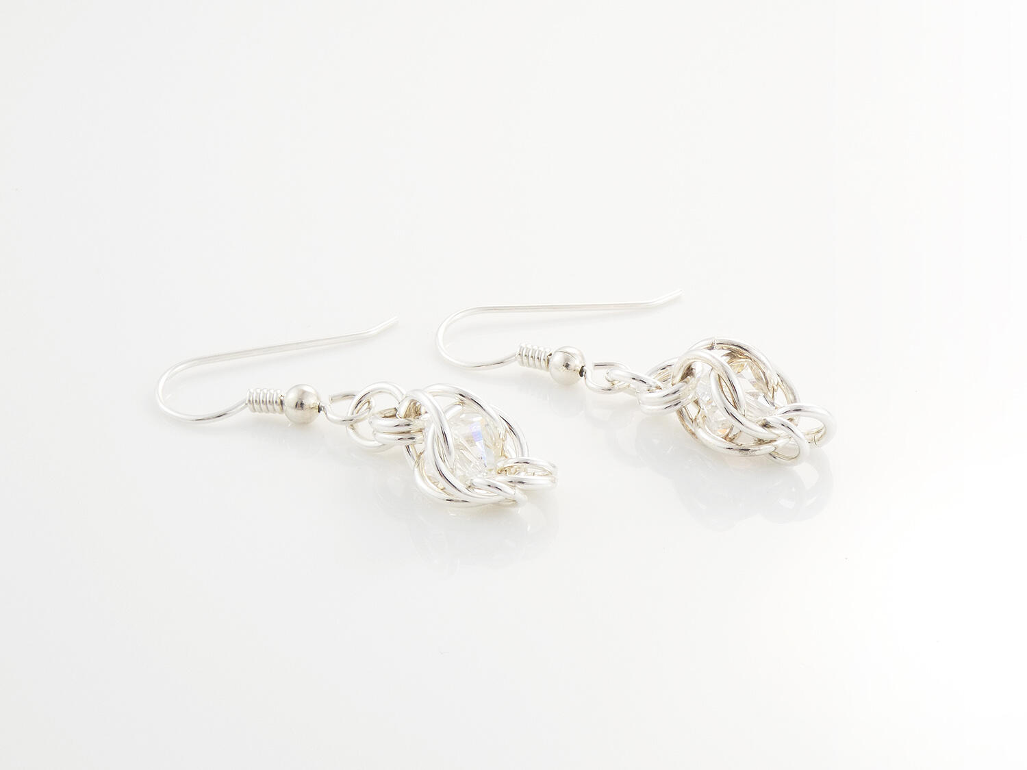 Silver Chainmaille Captured Bead Earrings Crystal AB