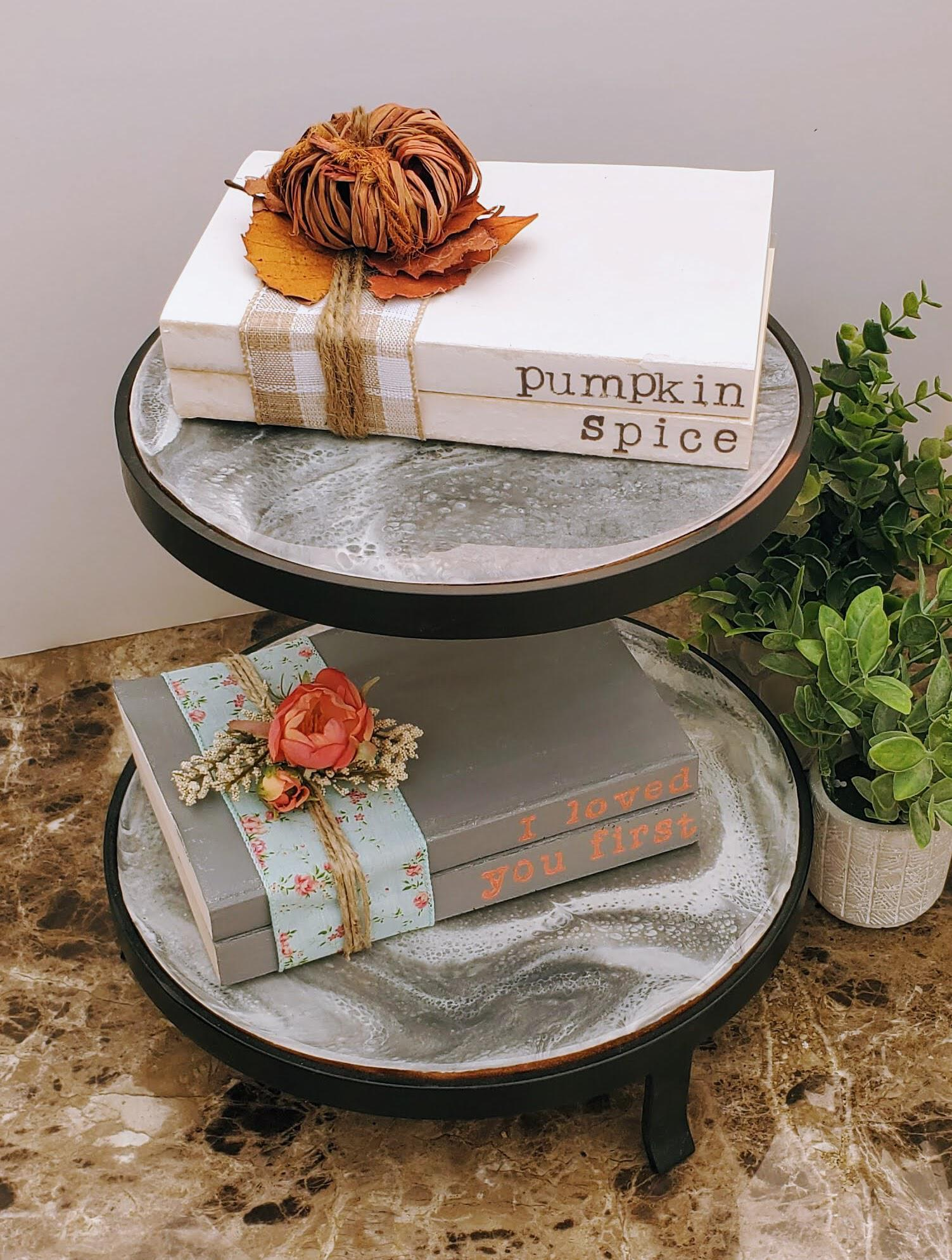 rustic book stack on tiered tray