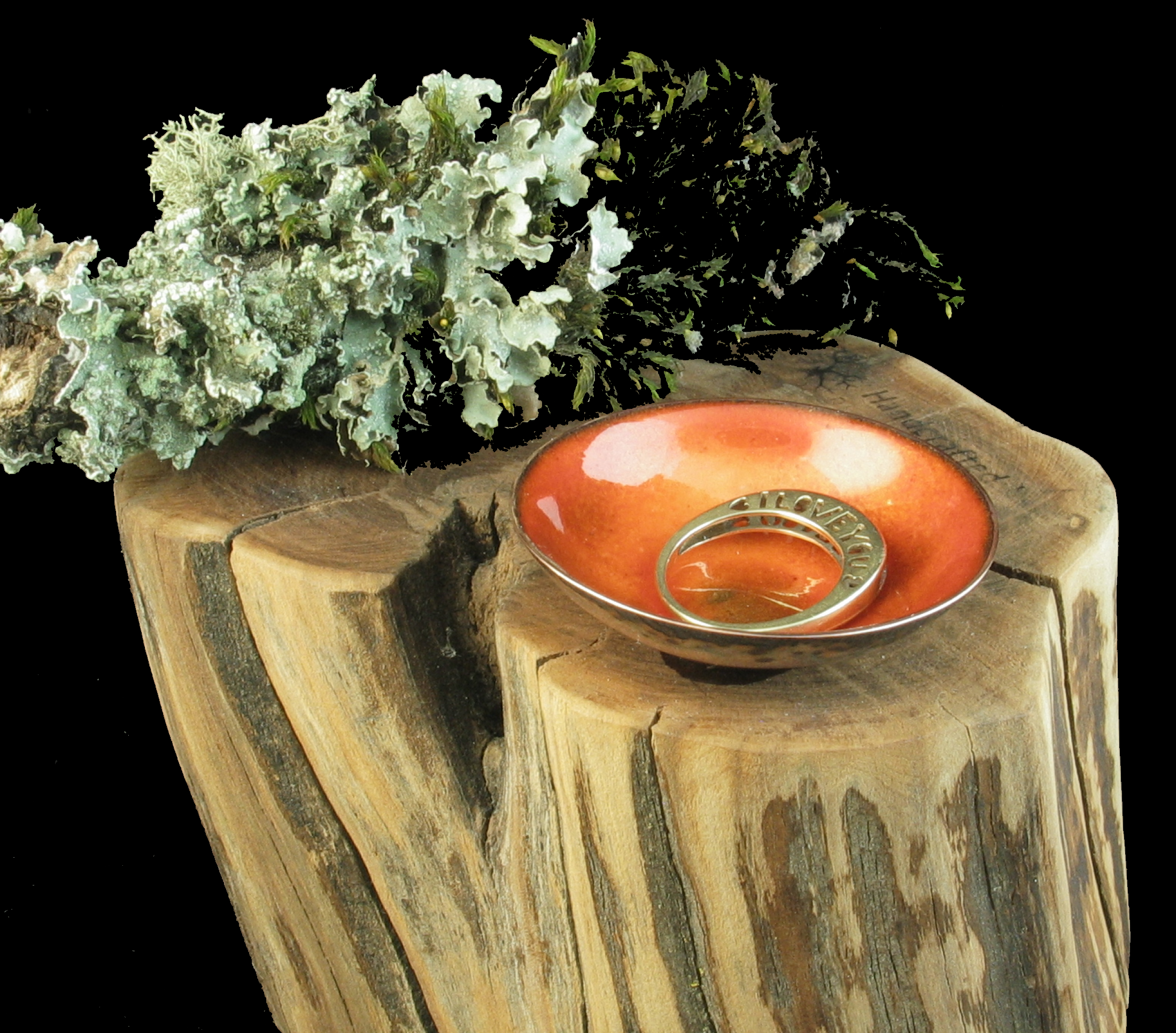 Tiny Trinket bowl copper enamel handmade