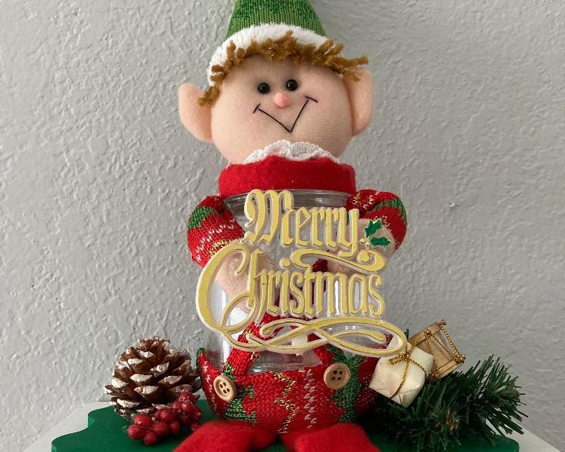 Elf Candy Jar Shelf Siters.  Cute and made to last a lifetime. Merry Christmas