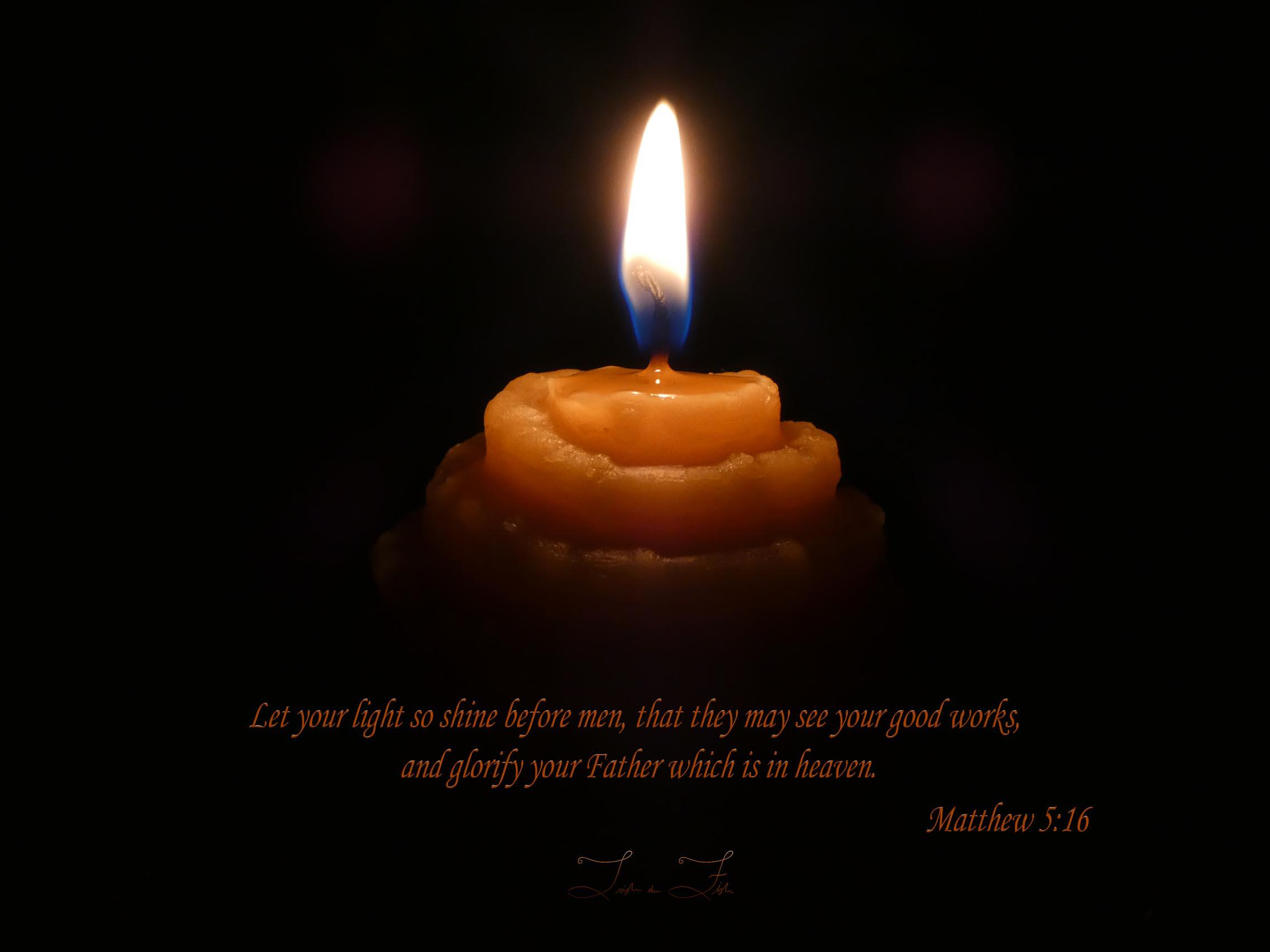 Beeswax Candle Flame Bible Verse Matthew 5:16 Let Your Light So Shine