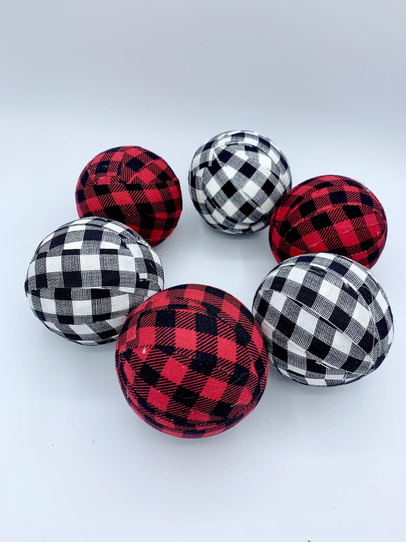 Red white black buffalo check plaid fabric wrapped balls bowl filler set