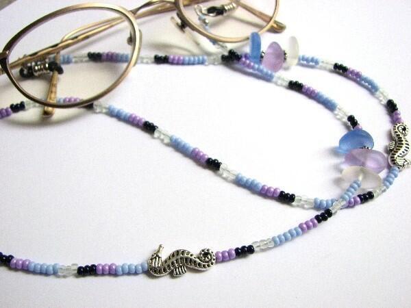 handmade bead eye glass necklace