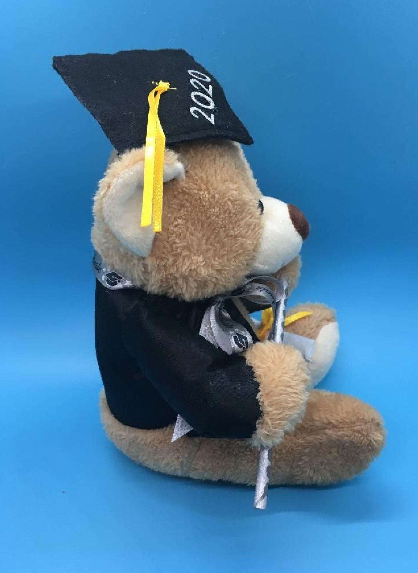 Plush Personalized Graduation Bear Class 2021. Honey tan bear with choice of school accent color.