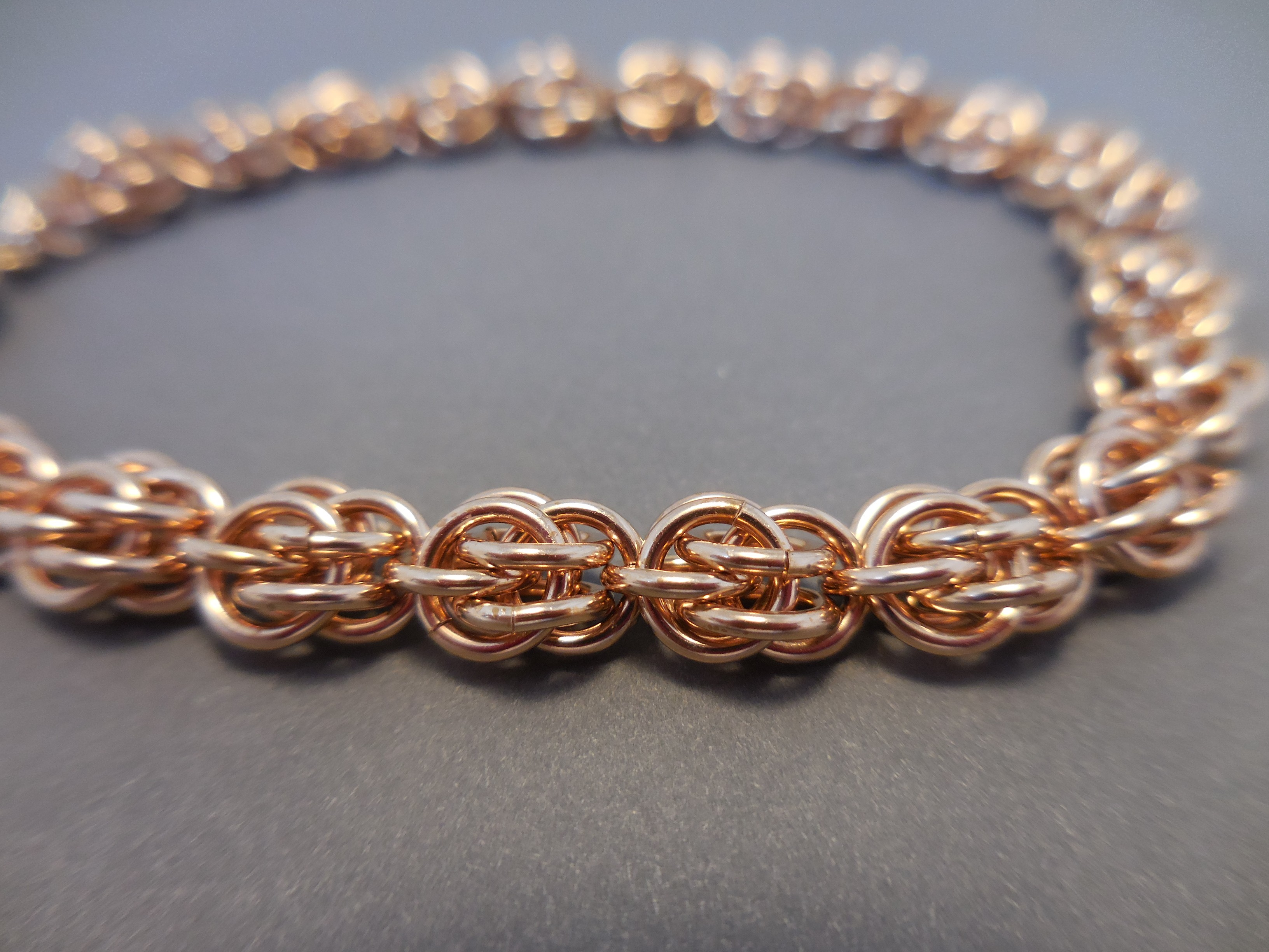 Bronze Chainmaille Bracelet Sweet Pea Weave