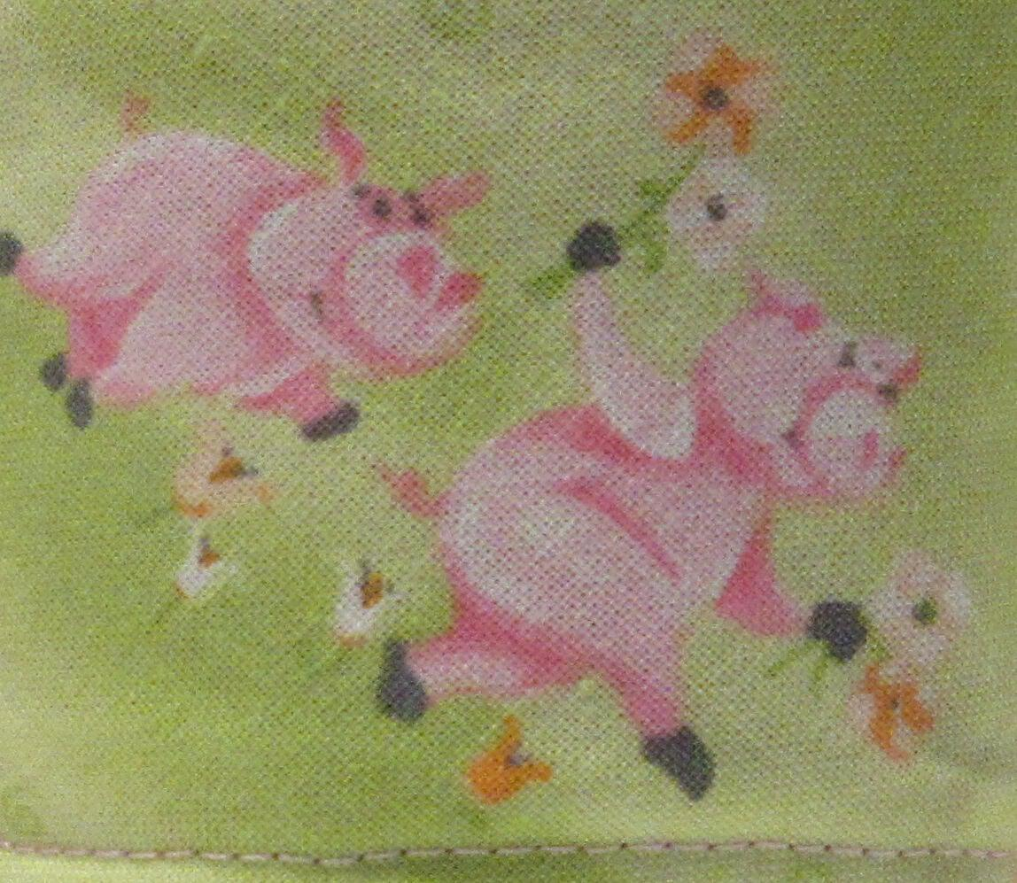 spring green fabric with pink pigs tea mug holder