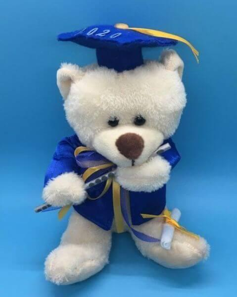 Plush Personalized Graduation Bear Class 2021. Cream color with school color yellow