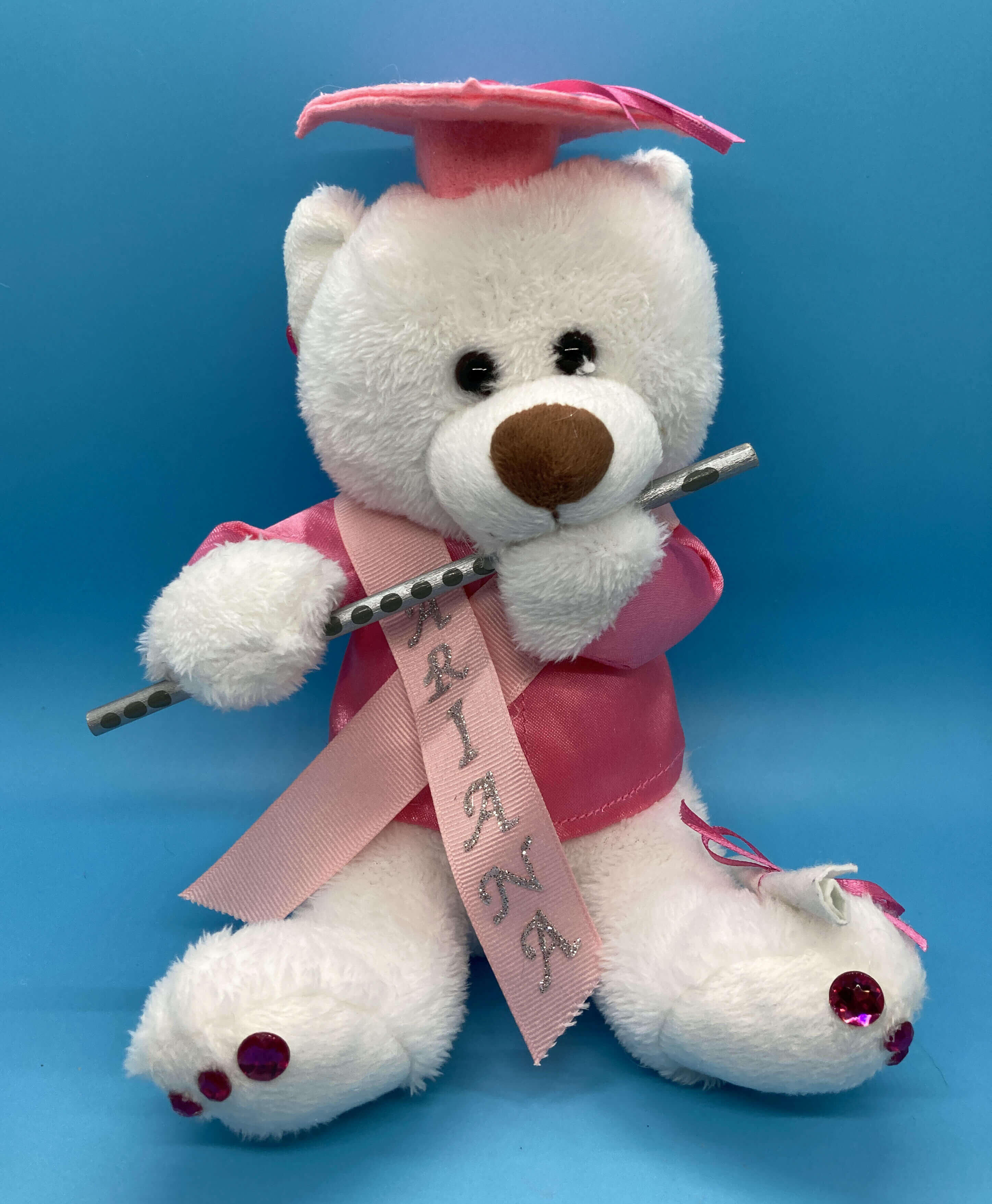 Plush Personalized Graduation Bear Class 2021. White Bear available in pink only