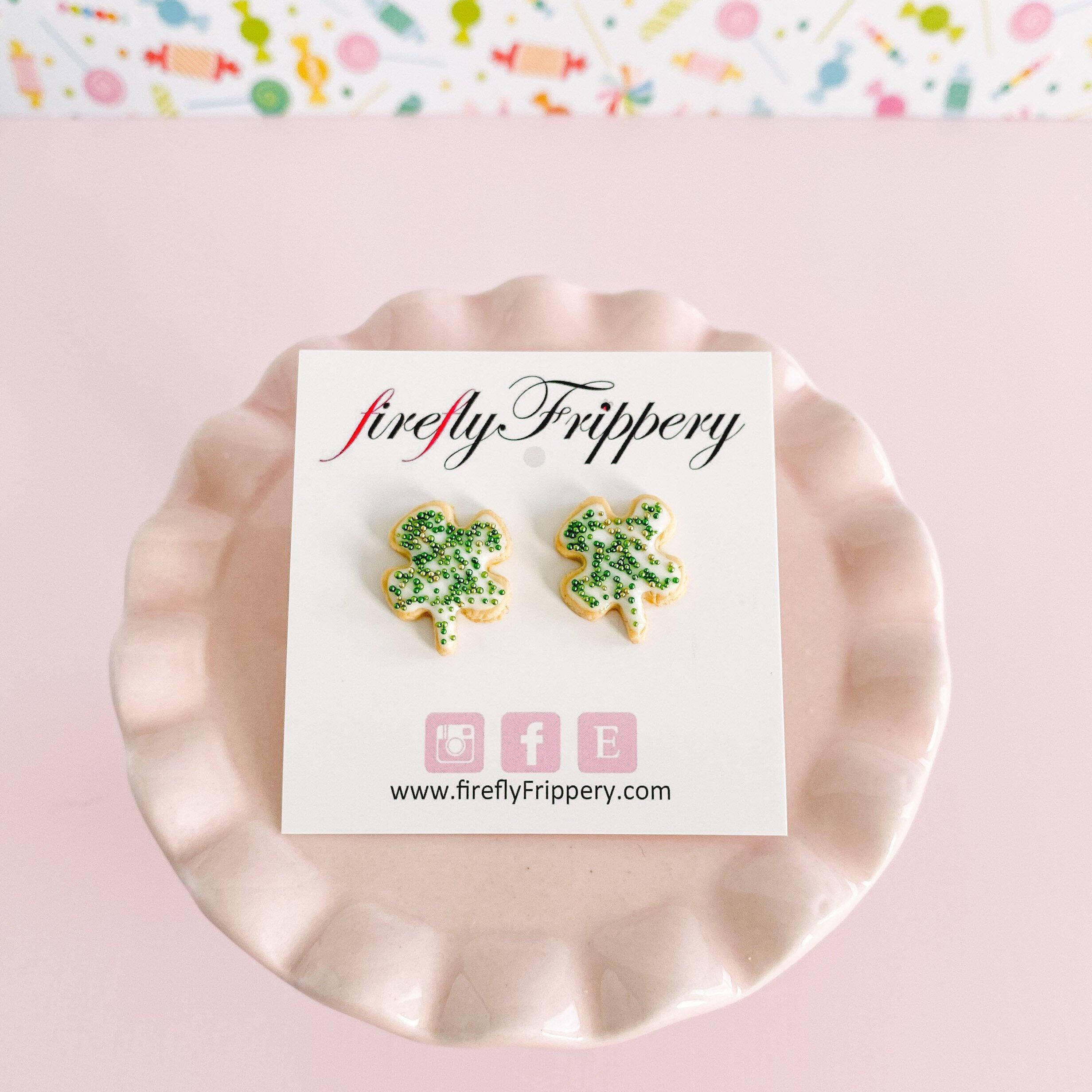 fireflyFrippery Shamrock Sugar Cookie Earrings on Card - White