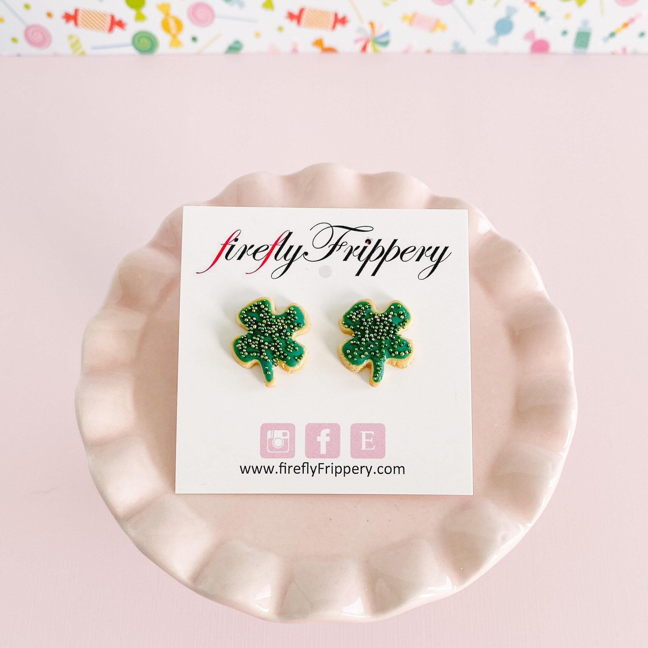 fireflyFrippery Shamrock Sugar Cookie Earrings on Card - Green