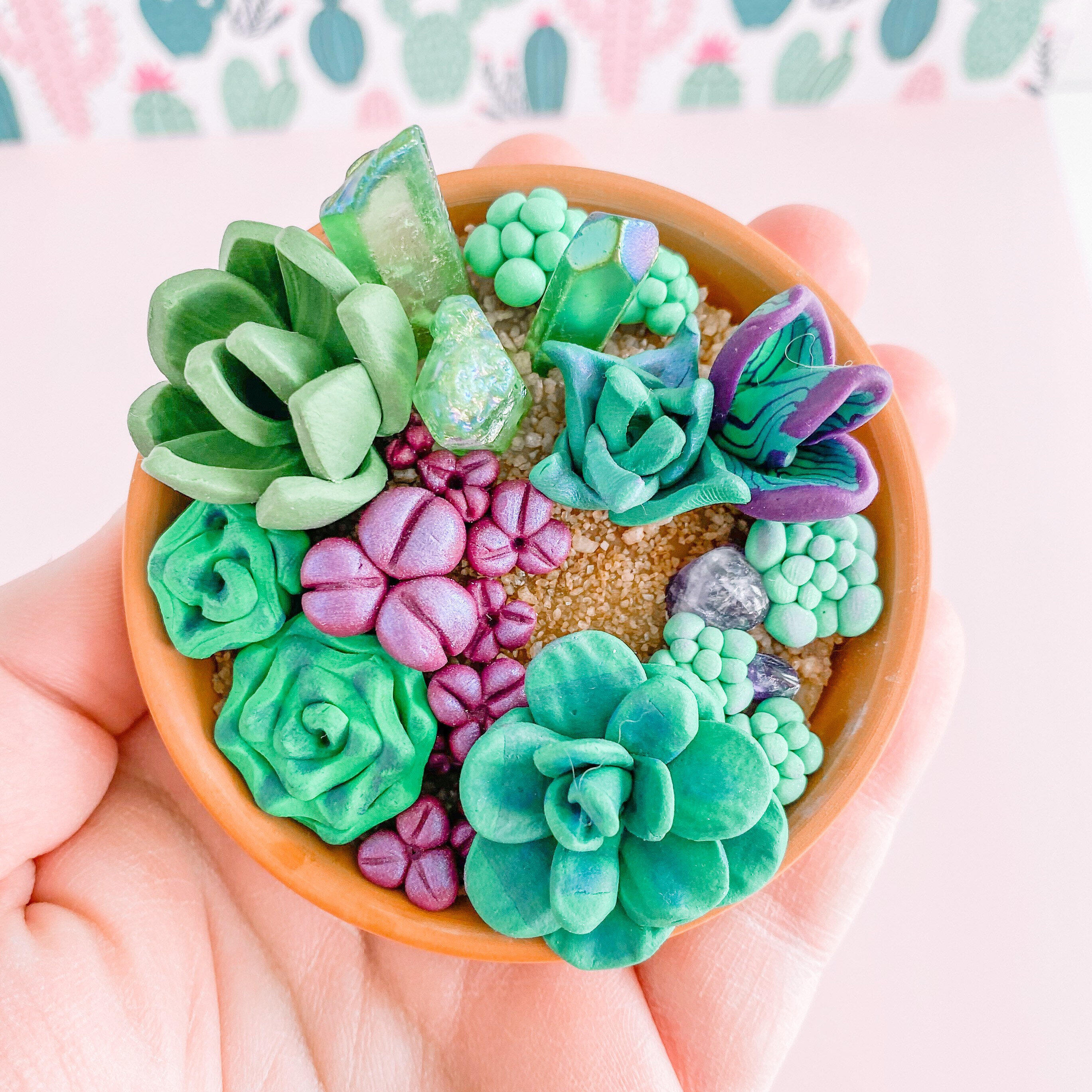 fireflyFrippery Miniature Faux Succulent and Crystal Garden in Hand