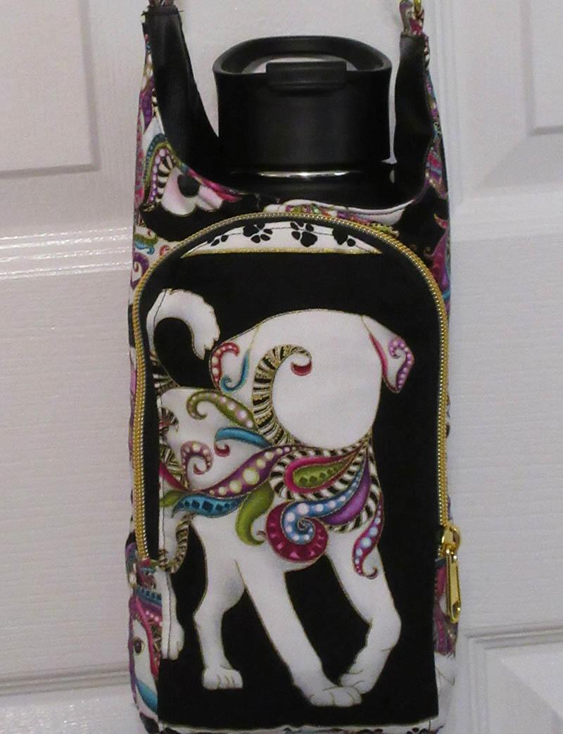 a furbaby favorite crossbody water bottle bag in mardi gras dogs print
