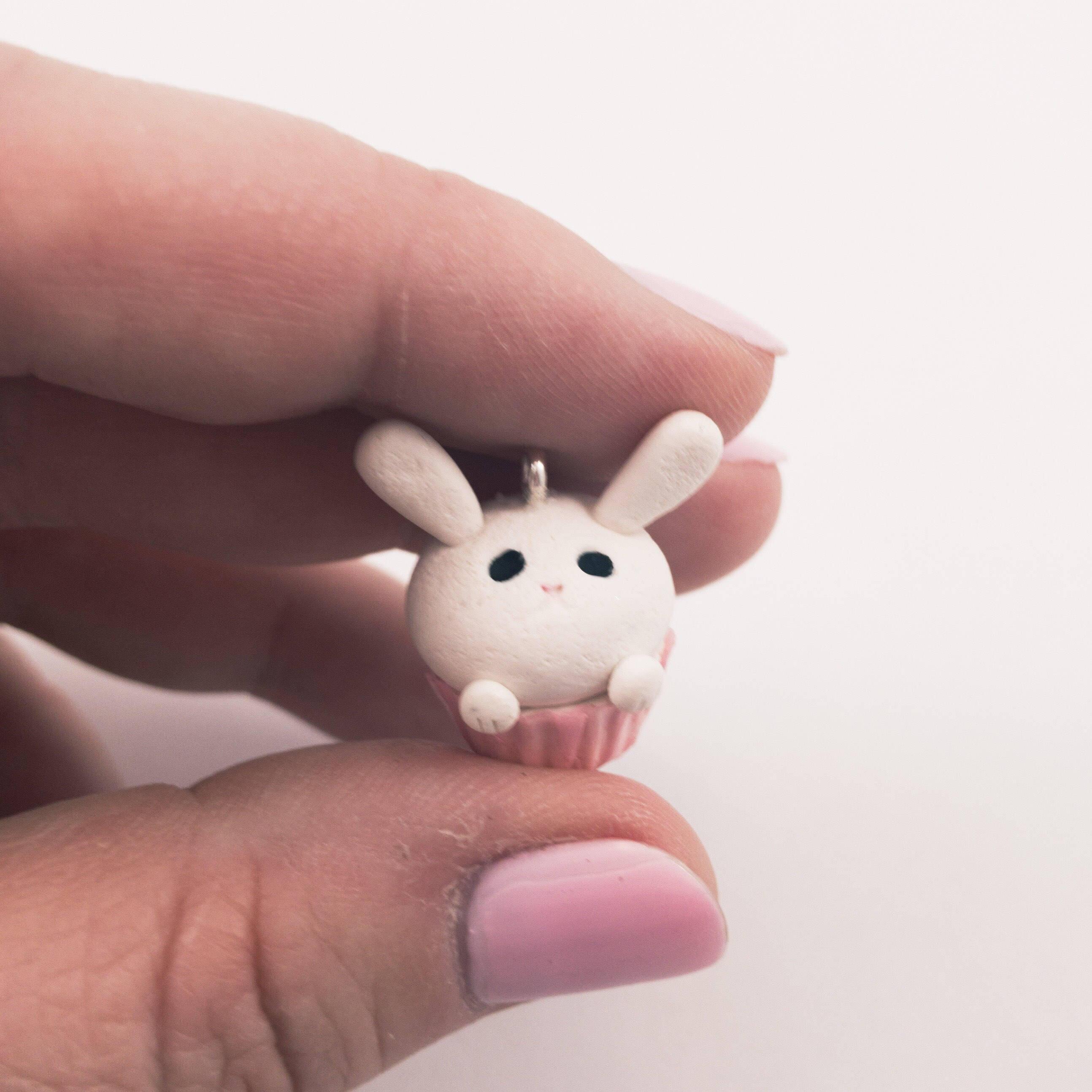 fireflyFrippery Miniature Perky Eared Bunny Cupcake in Hand