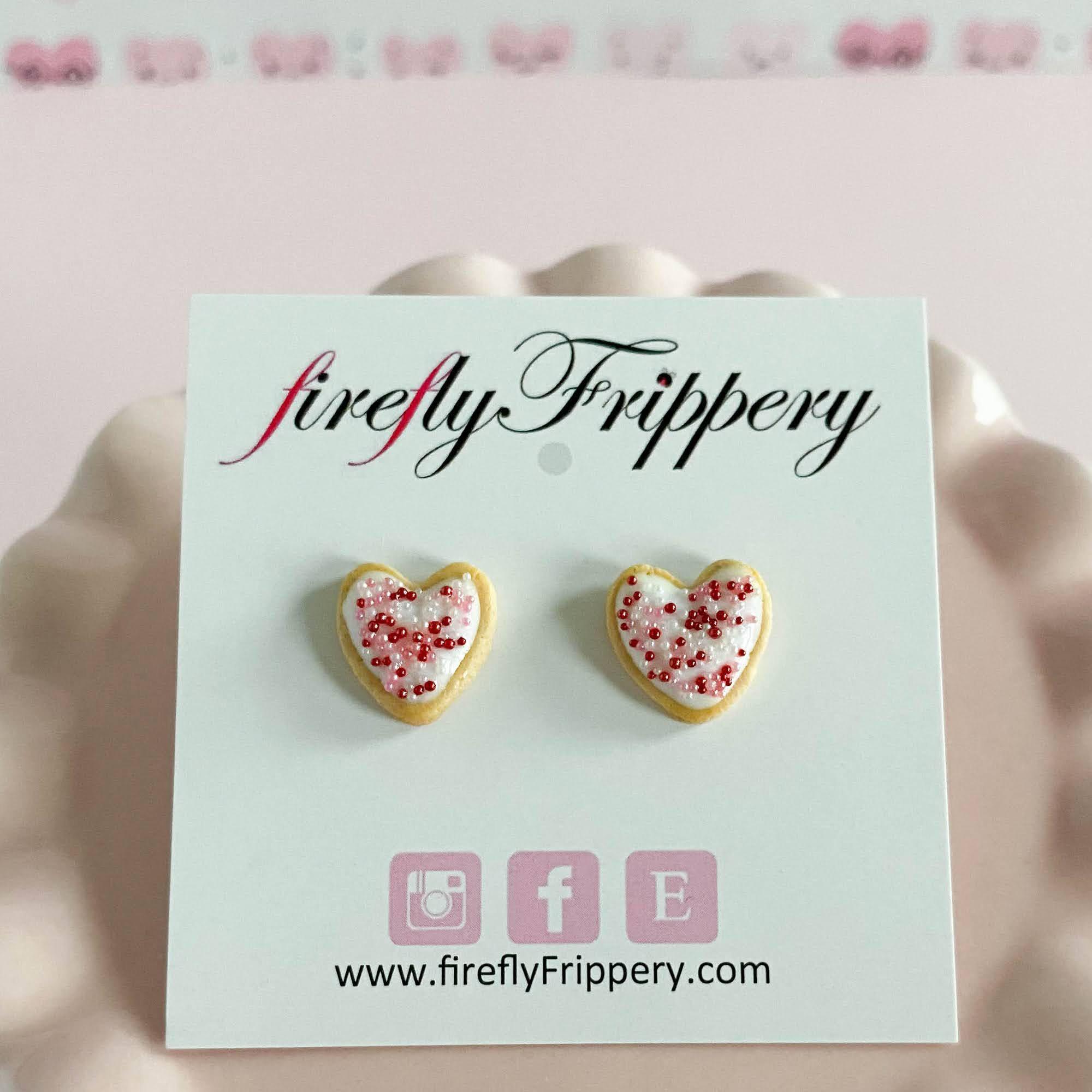 fireflyFrippery White Heart Sugar Cookie Earrings on Card