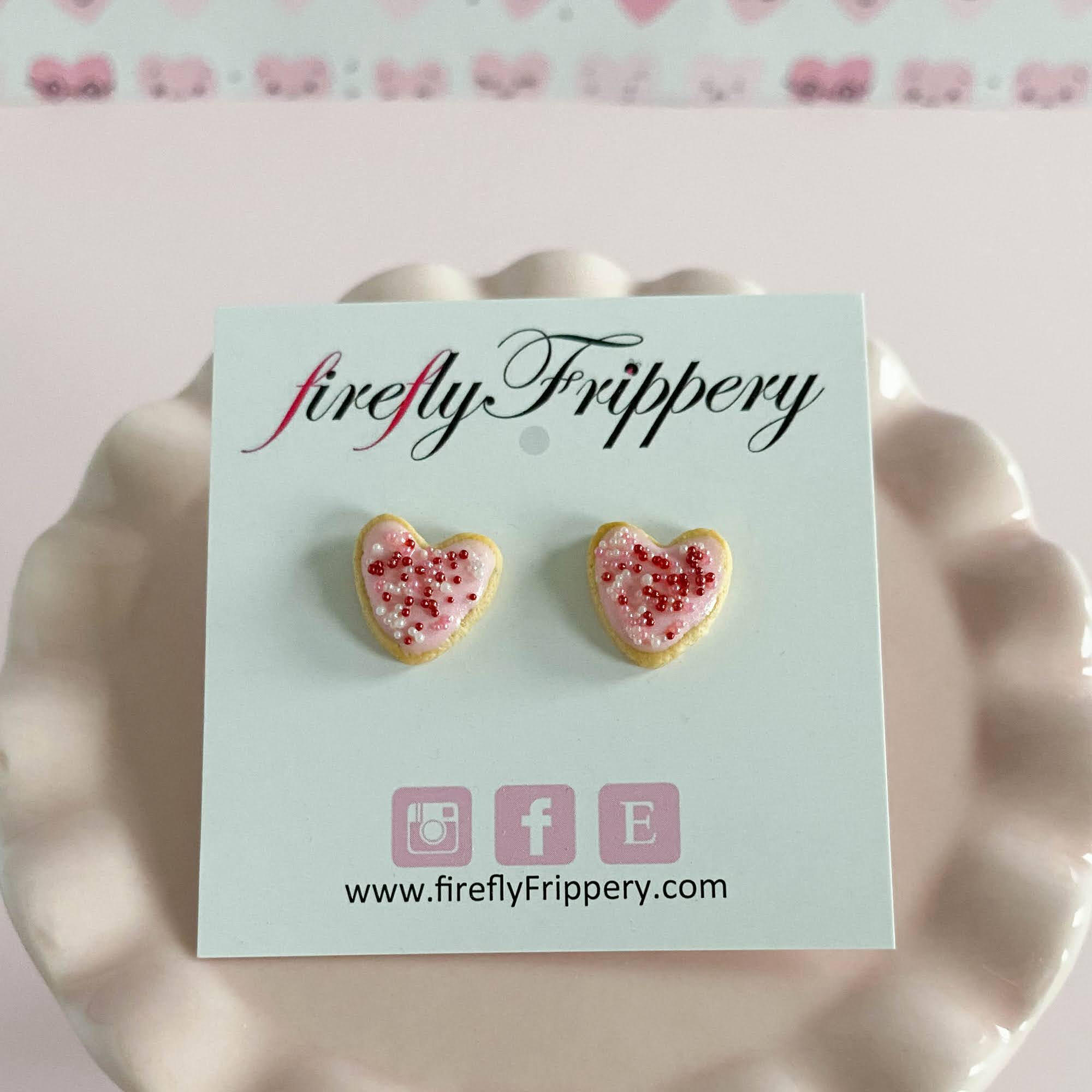 fireflyFrippery Pink Heart Sugar Cookie Earrings on Card