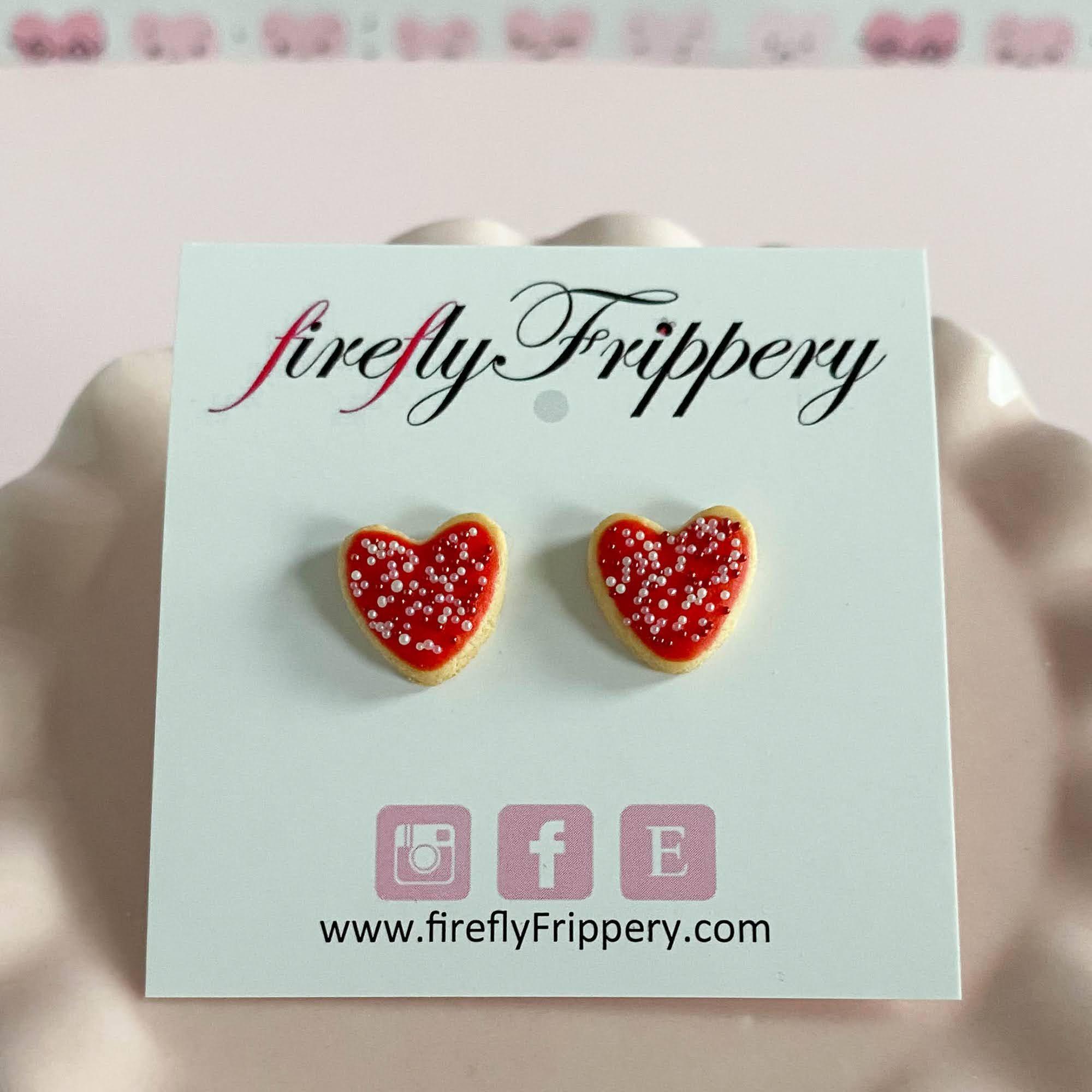 fireflyFrippery Red Heart Sugar Cookie Earrings on Card