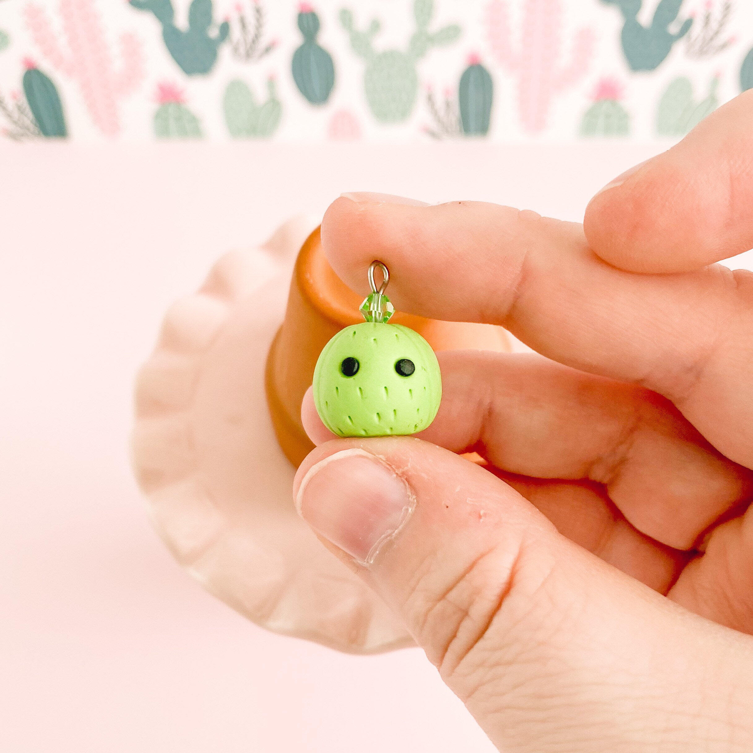 fireflyFrippery Cute Cactus Charm in Hand