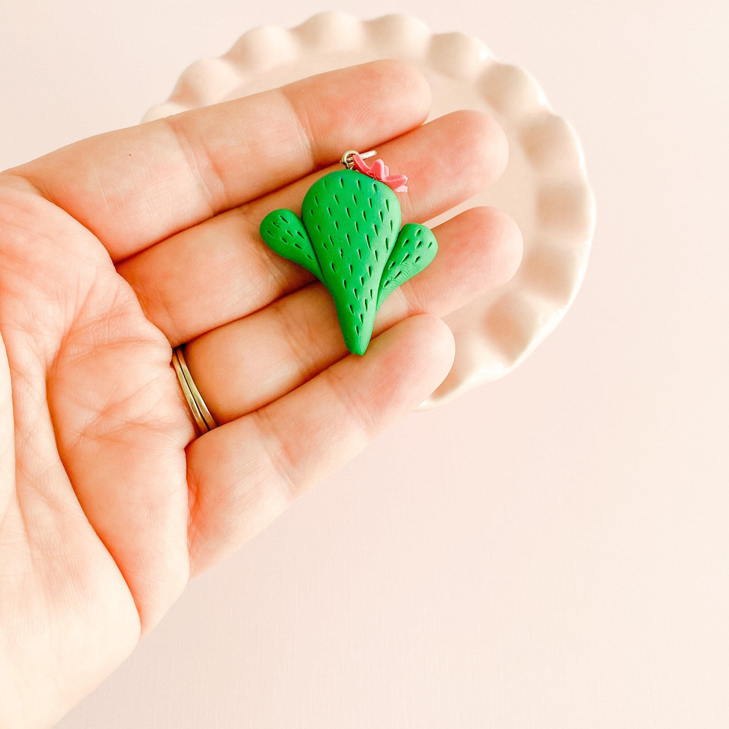 fireflyFrippery Cute Clay Cactus Charm with Flower