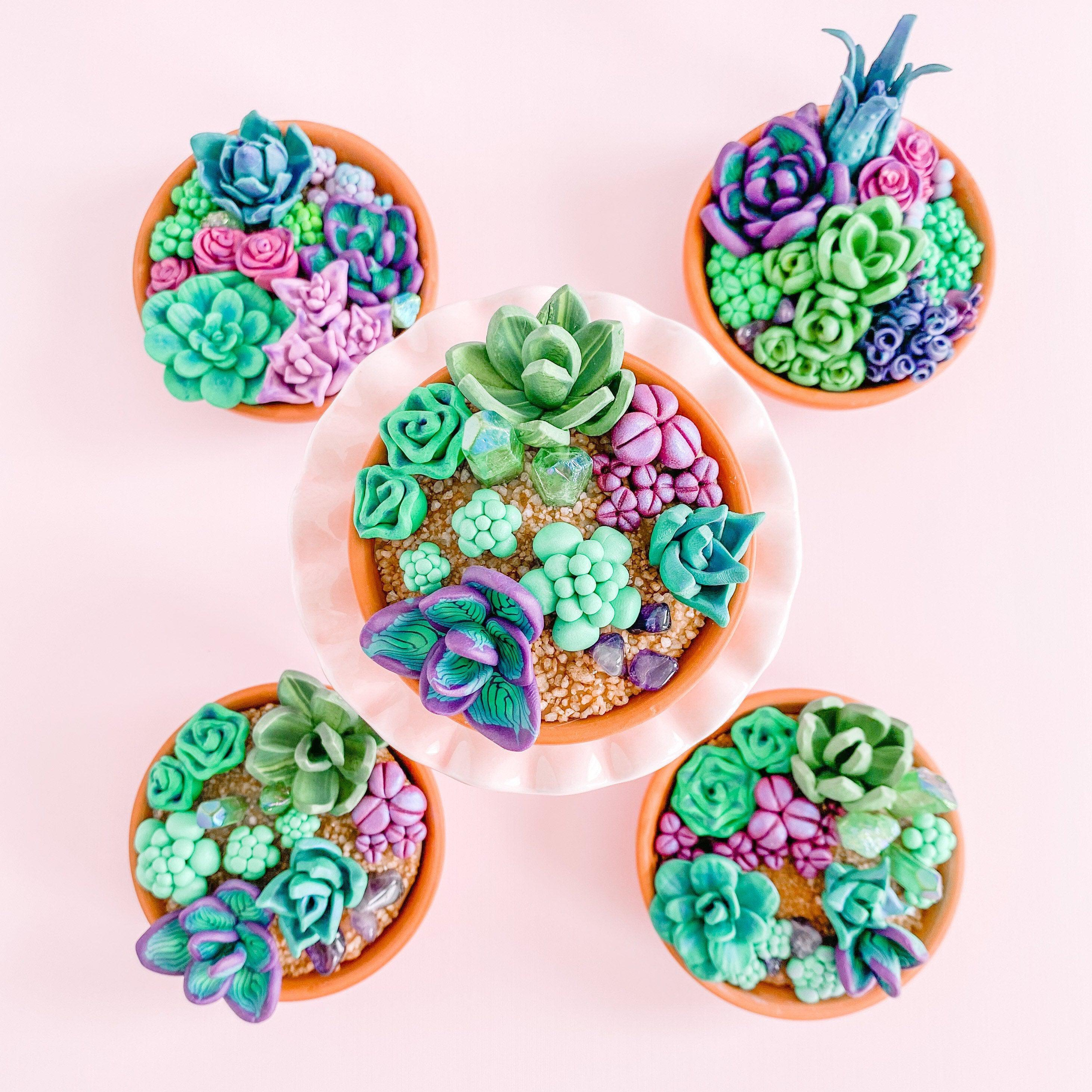 fireflyFrippery Miniature Faux Succulent and Crystal Gardens