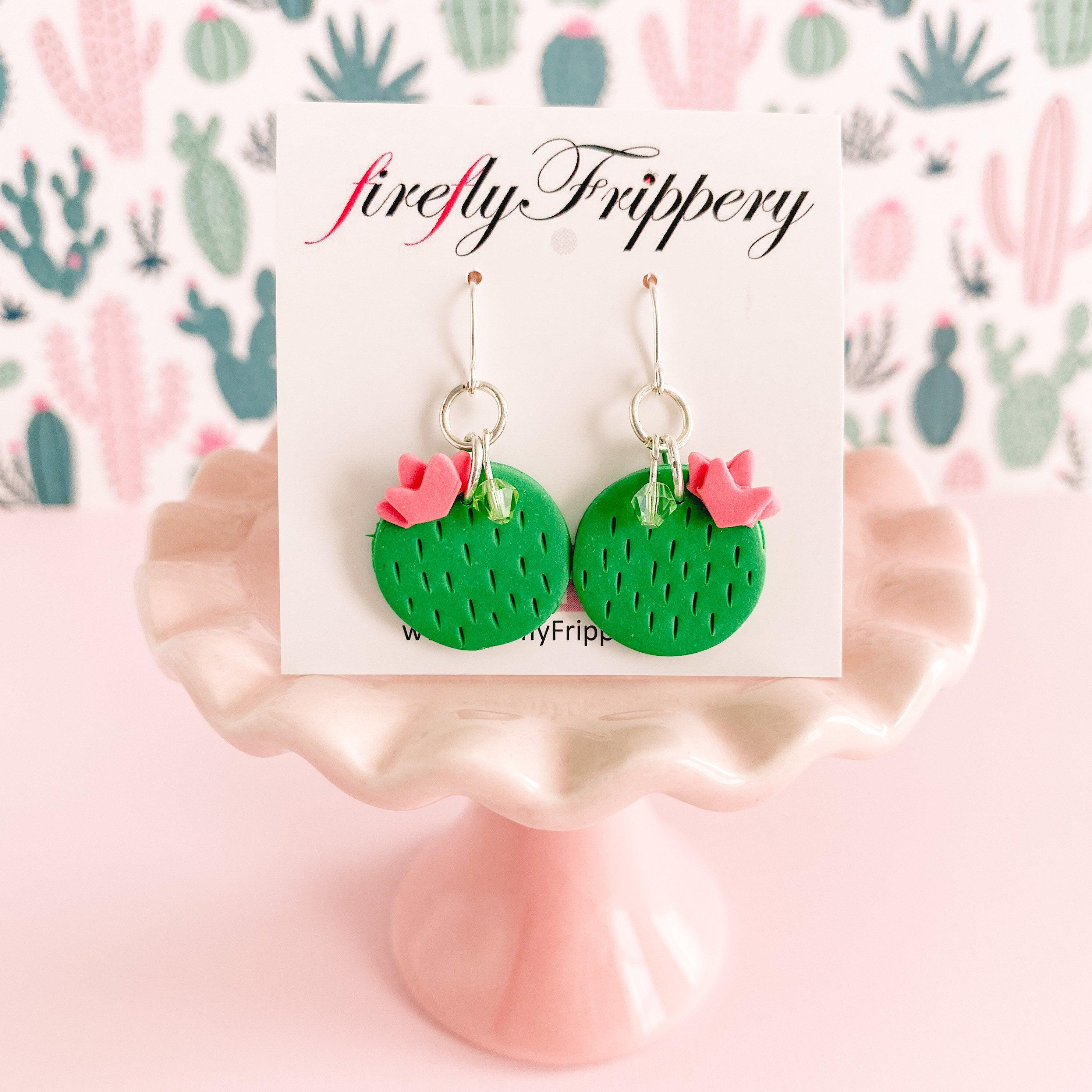 fireflyFrippery  Cute Chic Clay Cactus Earrings on Card