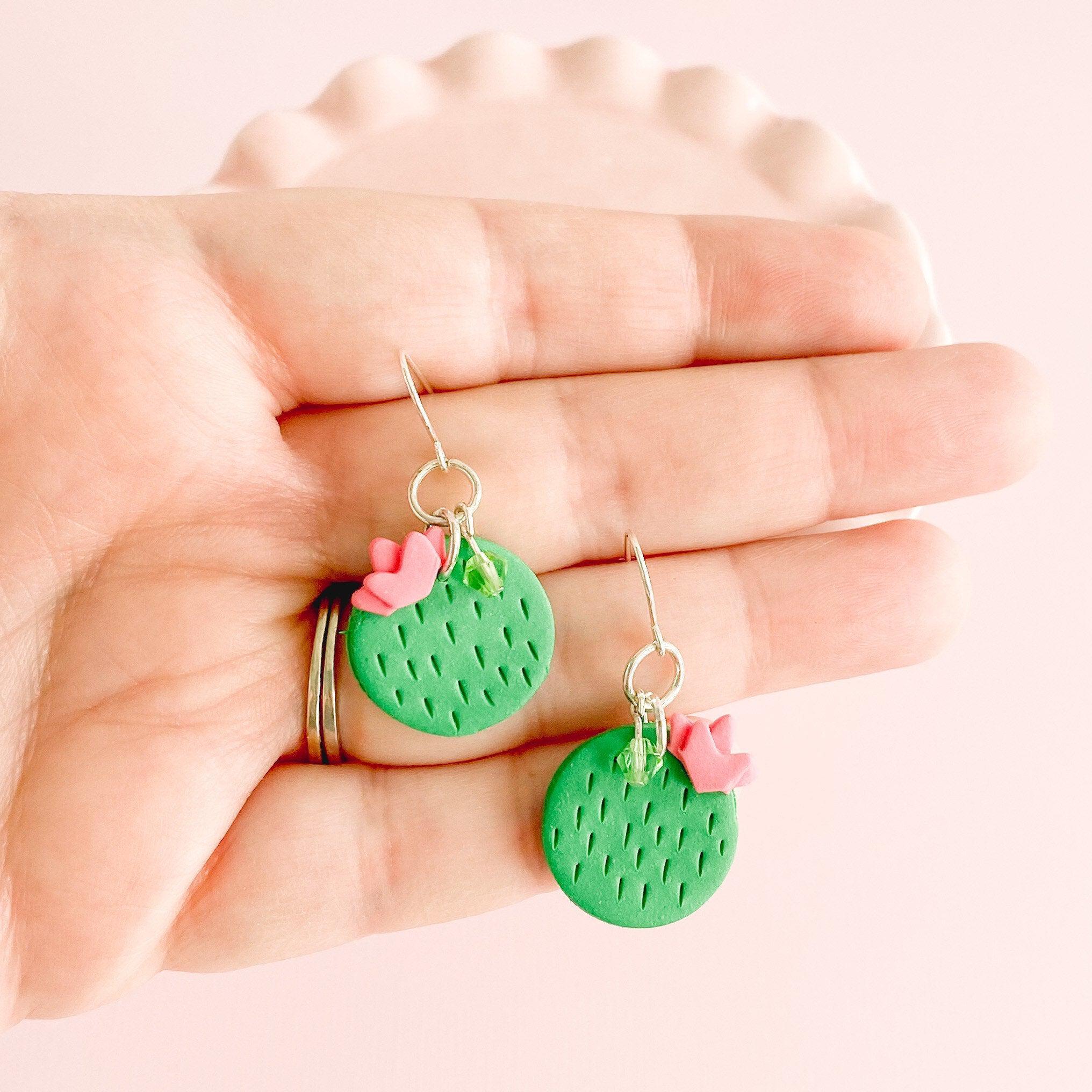 fireflyFrippery  Clay Cactus Drop Earrings in Hand