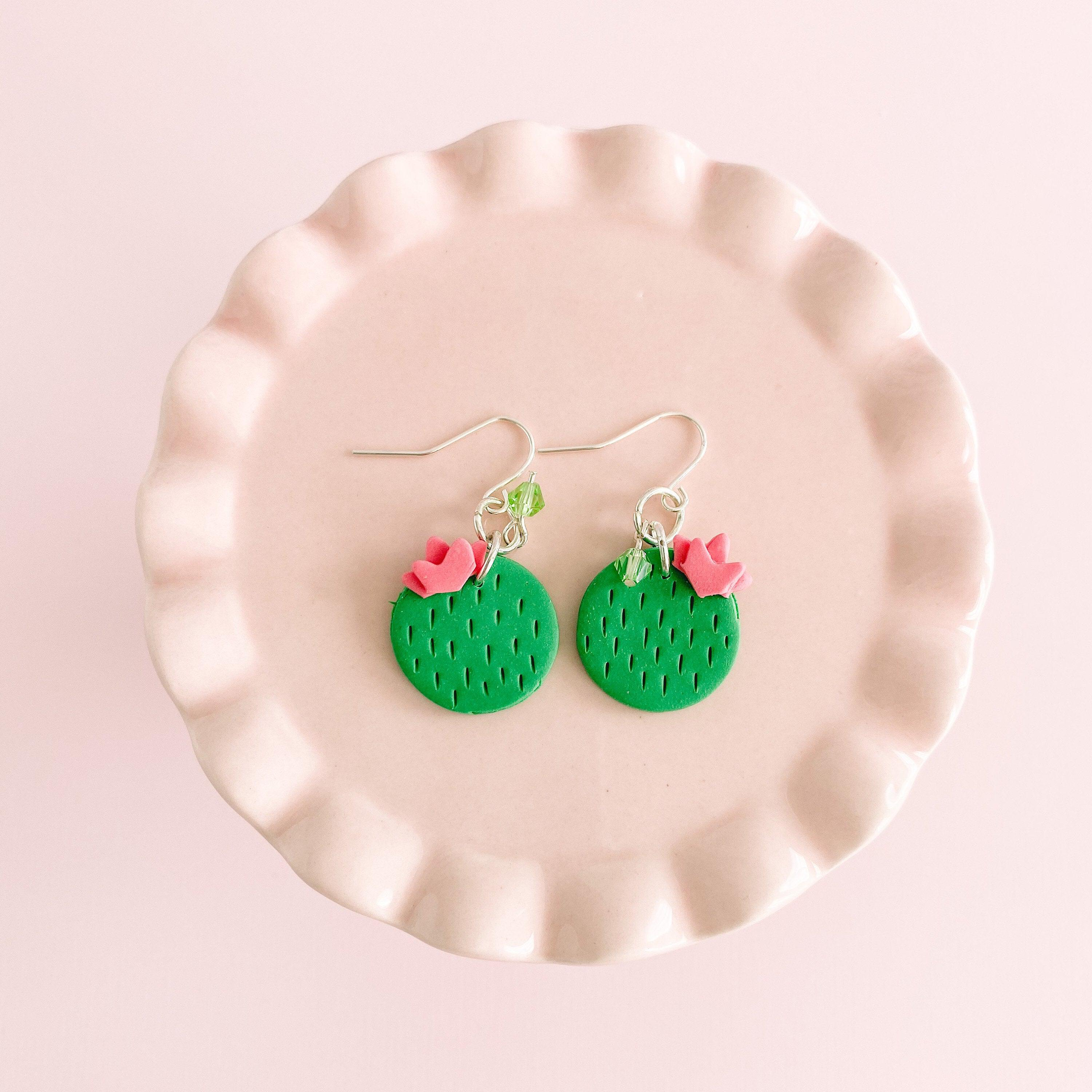 fireflyFrippery  Cute Chic Cactus Dangle Earrings on Pink Display Stand