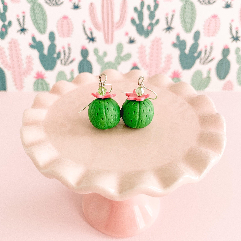 Jungle Green Miniature Barrel Cactus Earrings