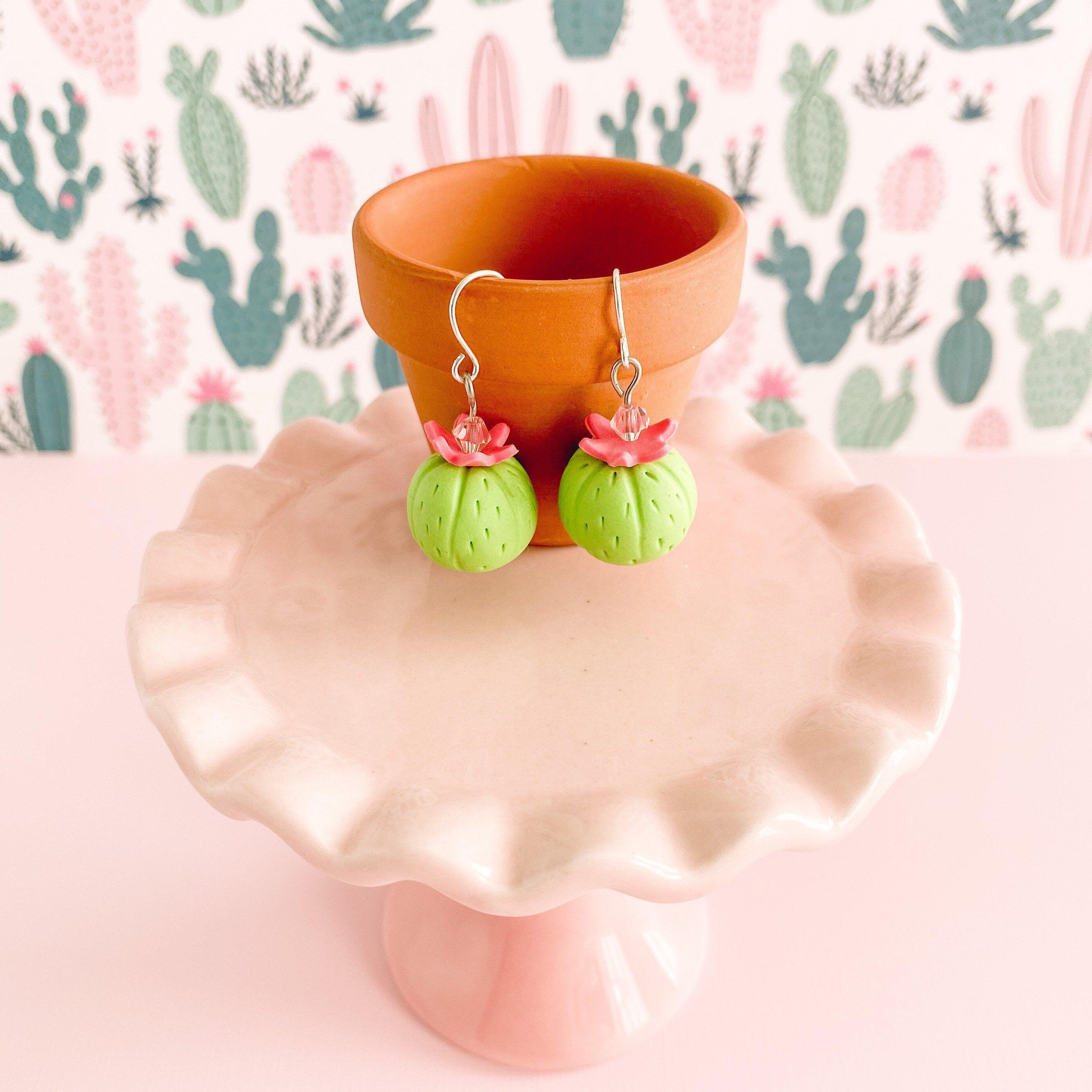 Miniature Barrel Cactus Earrings Hanging from Tiny Terra Cotta Pot