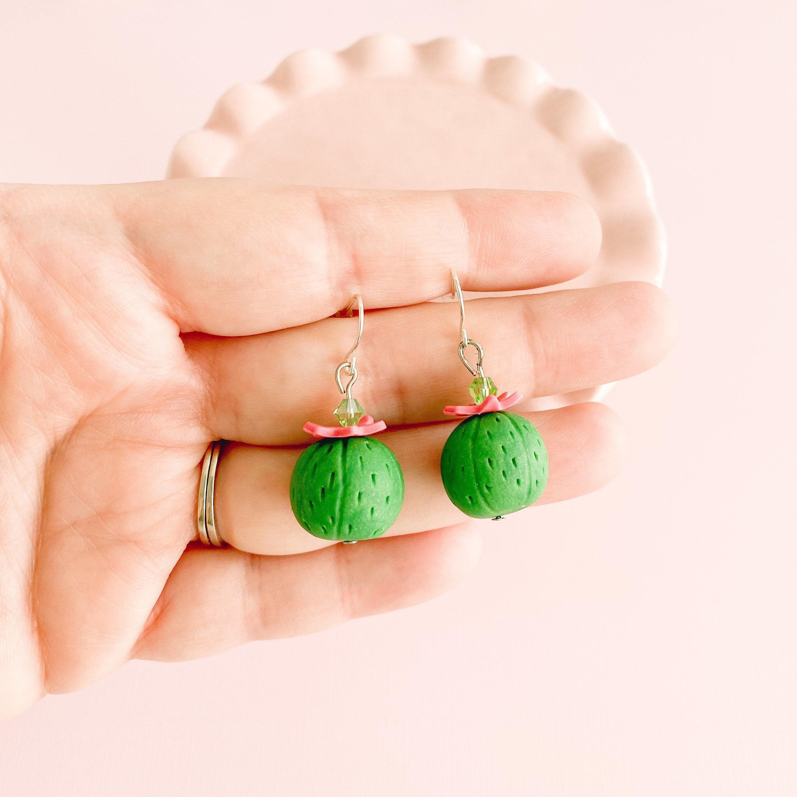 fireflyFrippery Miniature Barrel Cactus Earrings in Hand