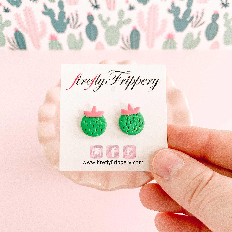 Cute Cactus Stud Earrings on Card