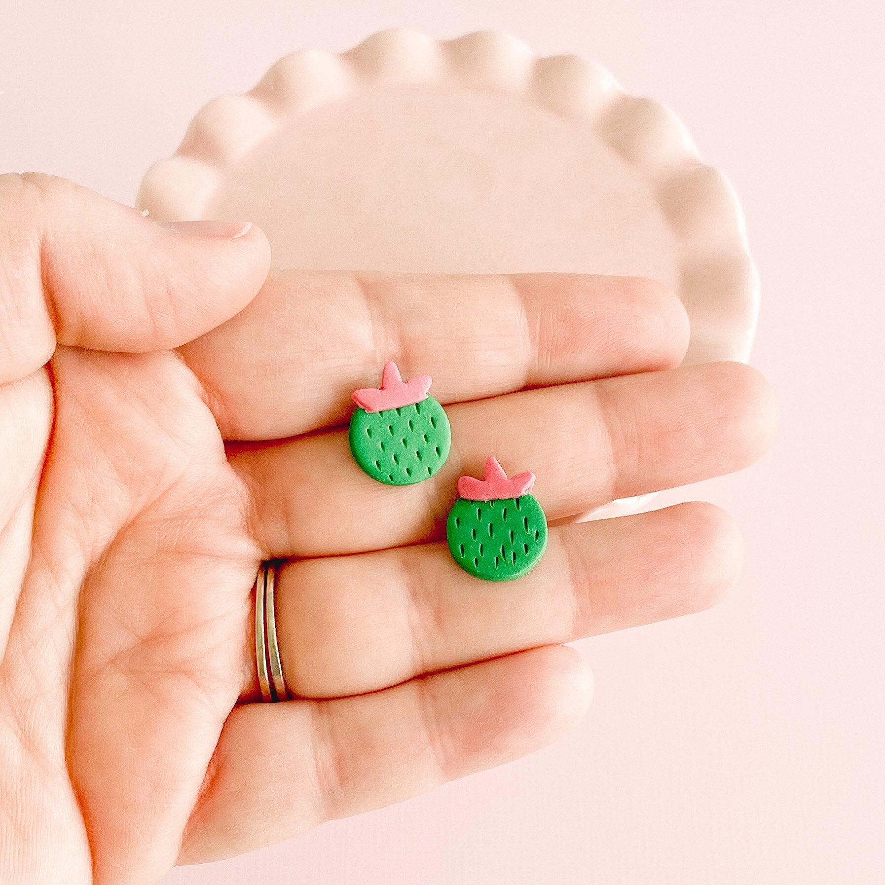 Cute Cactus Stud Earrings in Hand