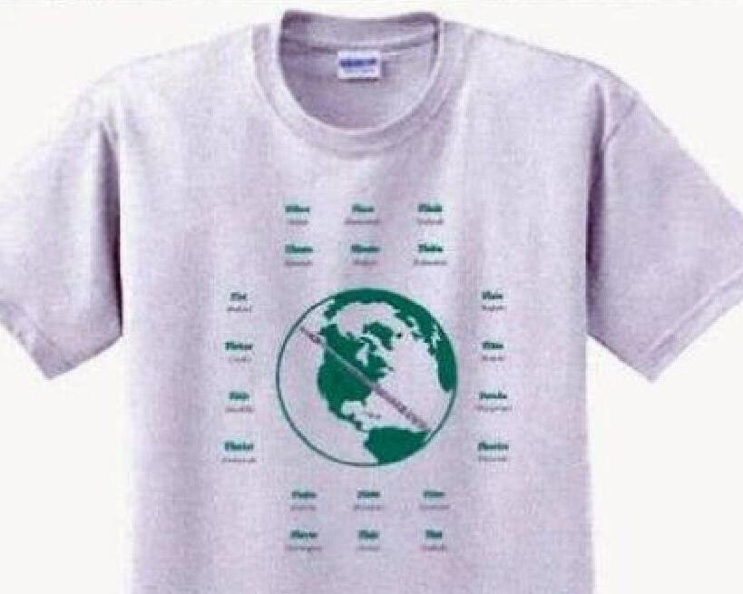 Flute Around The World  Tee Shirt 50/50 poly-cotton athletic gray tee.  Unisex in sizes from medium to x-large.  Educational in the aspect of FLUTE spelled in 20 different languages.  Designed and copyrighted by Flute Emporium with our fellow flutists in mind!