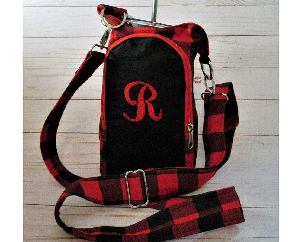 personalized water bottle holder buffalo plaid tumbler carrier red and black by a fur baby favorite