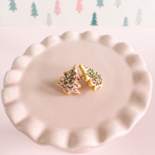 fireflyFrippery Pink  Christmas Tree Sugar Cookie Earrings