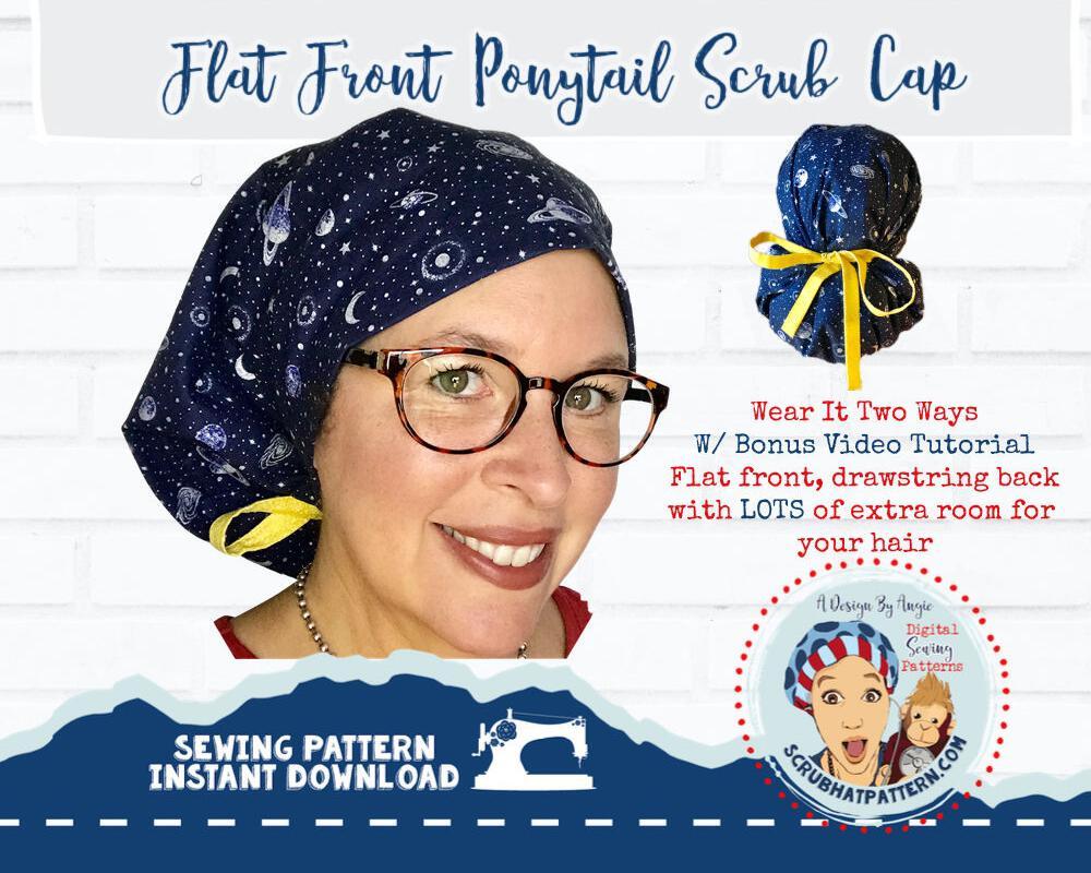 Flat Front Ponytail Scrub Hat Sewing Pattern