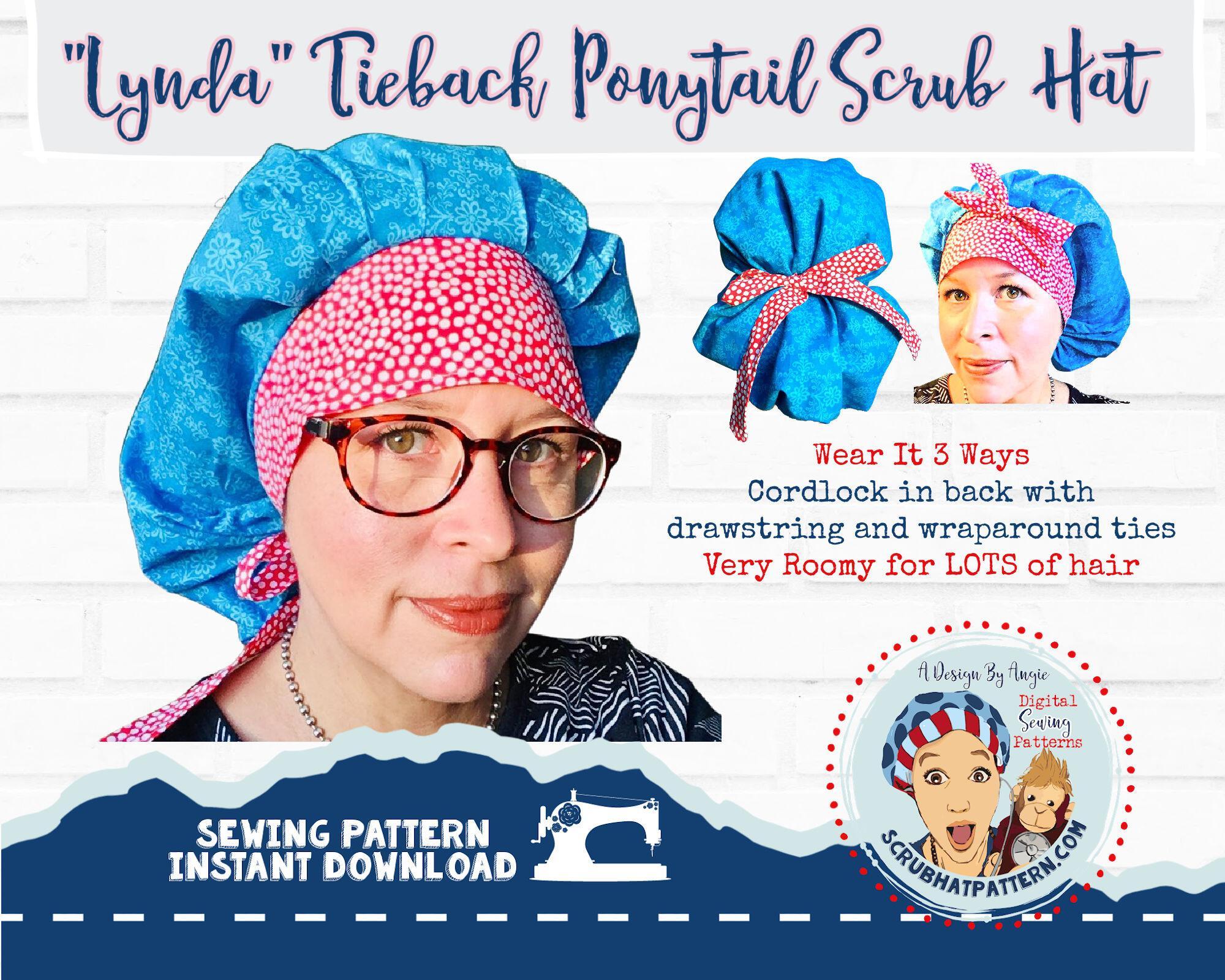 Lynda Bow Front PonyTail Scrub hat Sewing Pattern