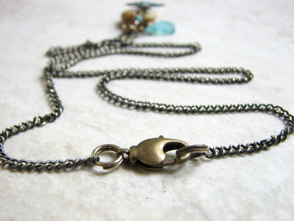 antiqued brass chain  lobster claw closure