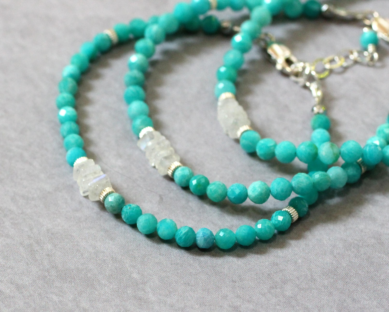 Amazonite and Moonstone Bracelet