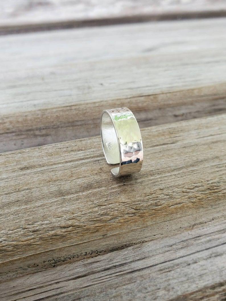 Sterling Silver Hanger Size 7.5 Women Handmade Ring Gift