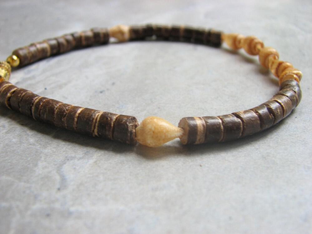Chunky coconut bead ankle bracelet