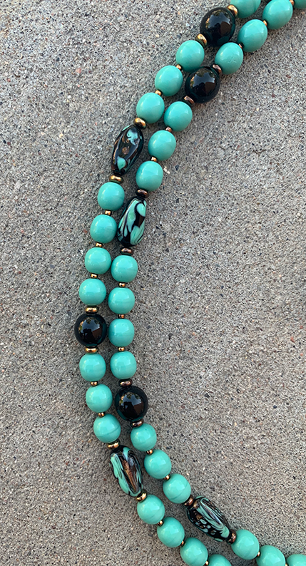 Turquoise Bead Necklace Teal Bead Necklace Turquoise Stone Beaded Double Strand Bib Necklace /& Earrings Set Mother/'s Day Gift