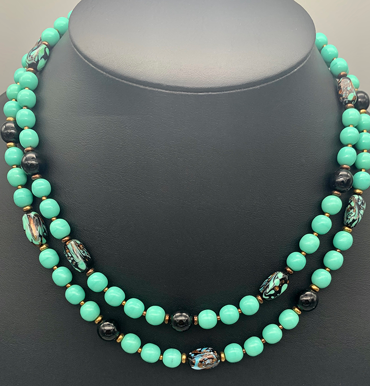 Double Strand 10mm Dark Teal Green Glass Pearl Necklace with Earrings Set