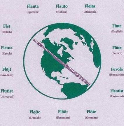 Upclose view of world globe, flute, and languages. Athletic Gray with green design. Uisex Tee