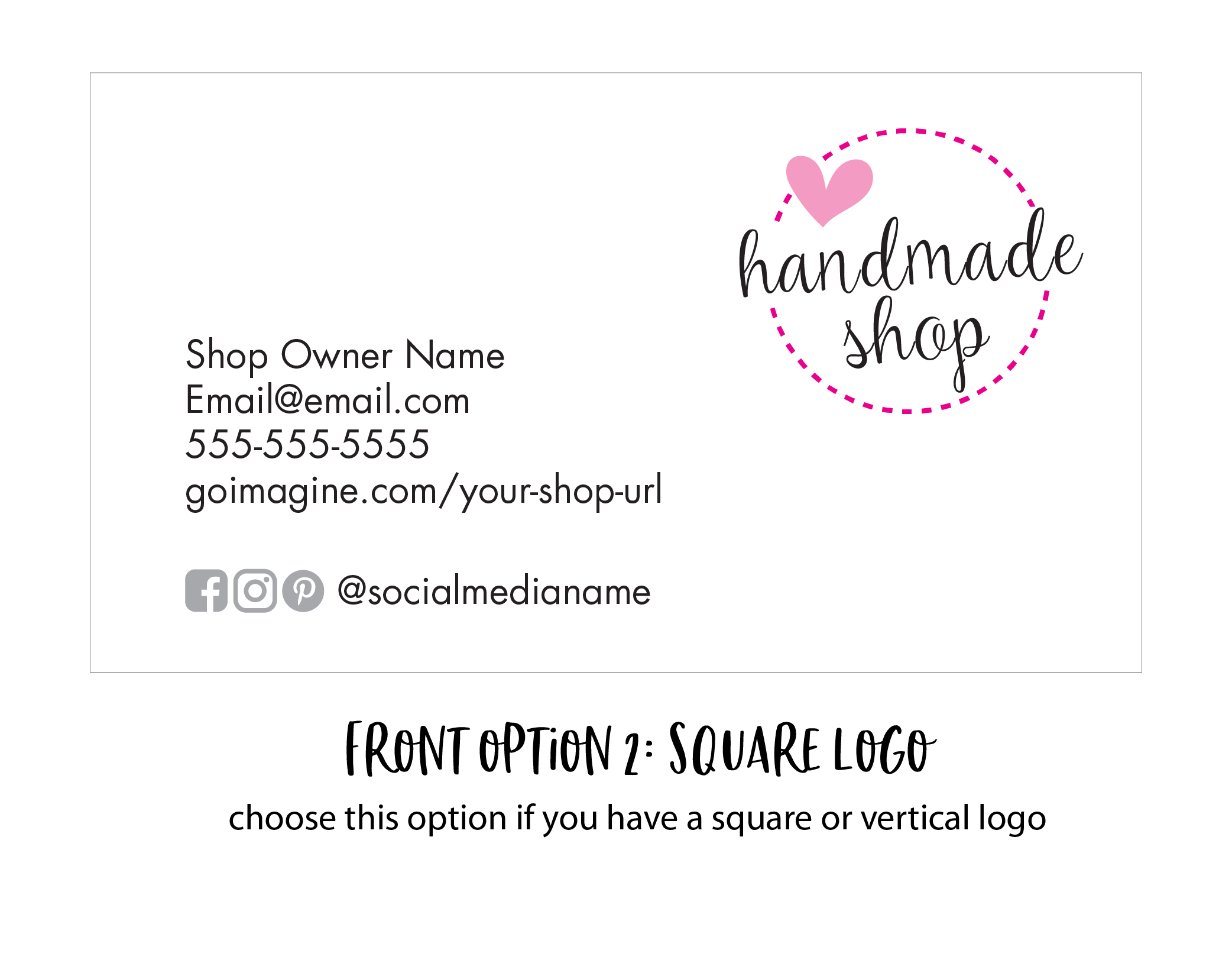 custom business card - square logo format