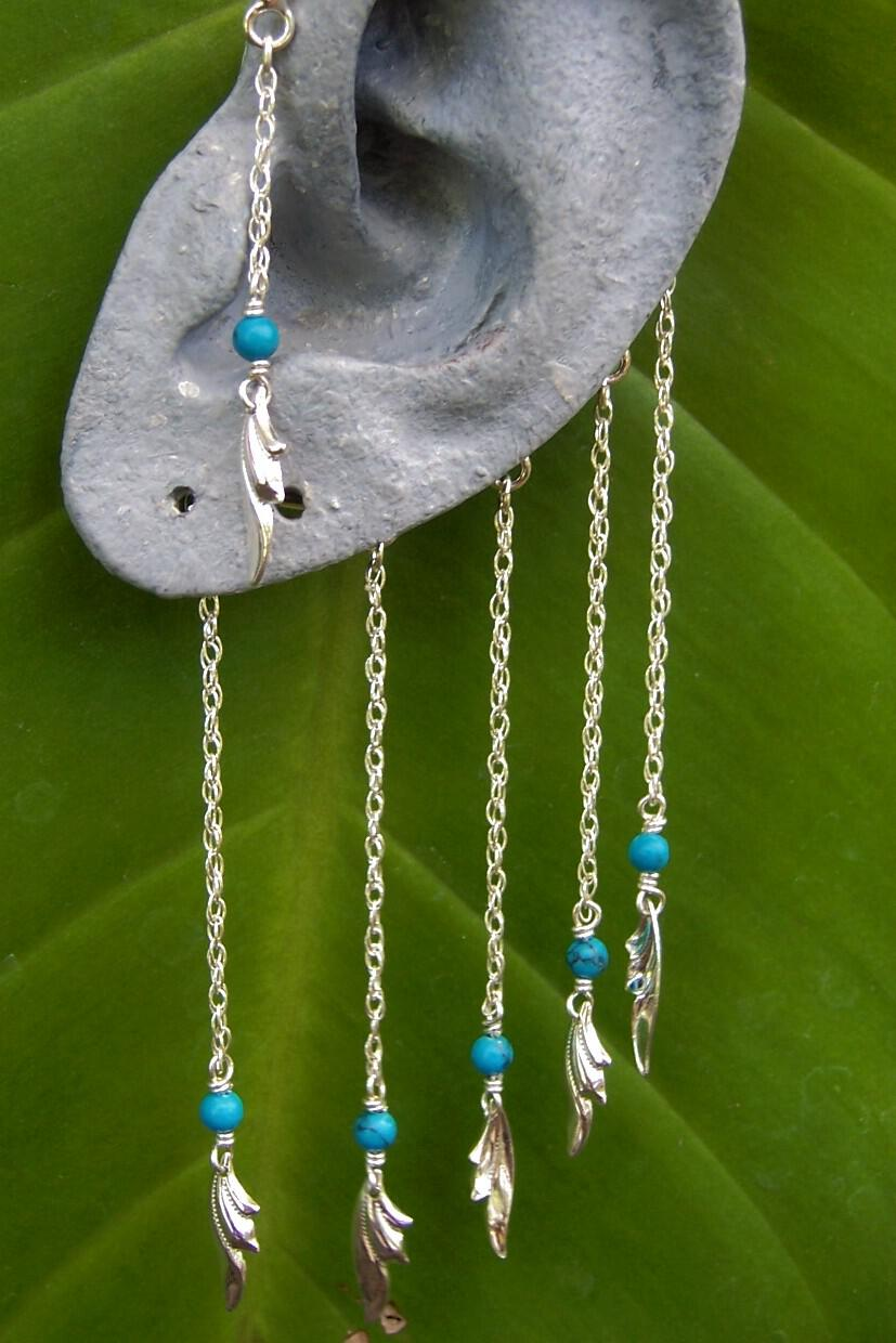 Sterling silver and turqouise ear hangers